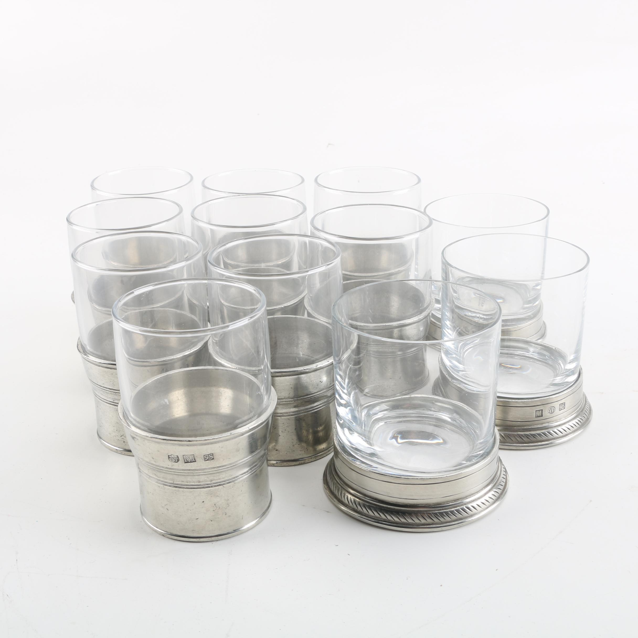 Crystal Tumblers and Water Glasses with Pewter Sleeves