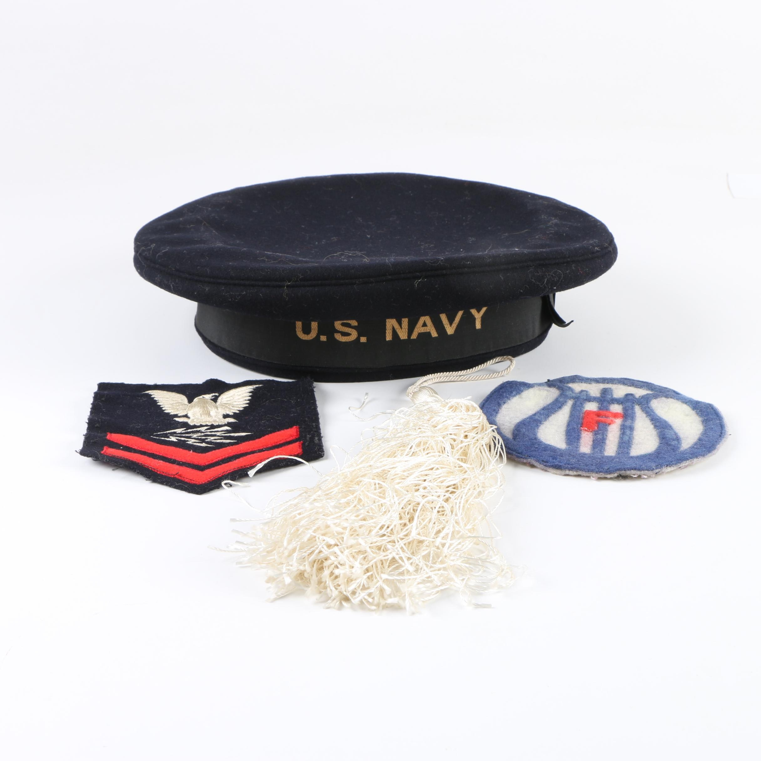 Vintage U.S. Navy Cap, Patches, and Tassel