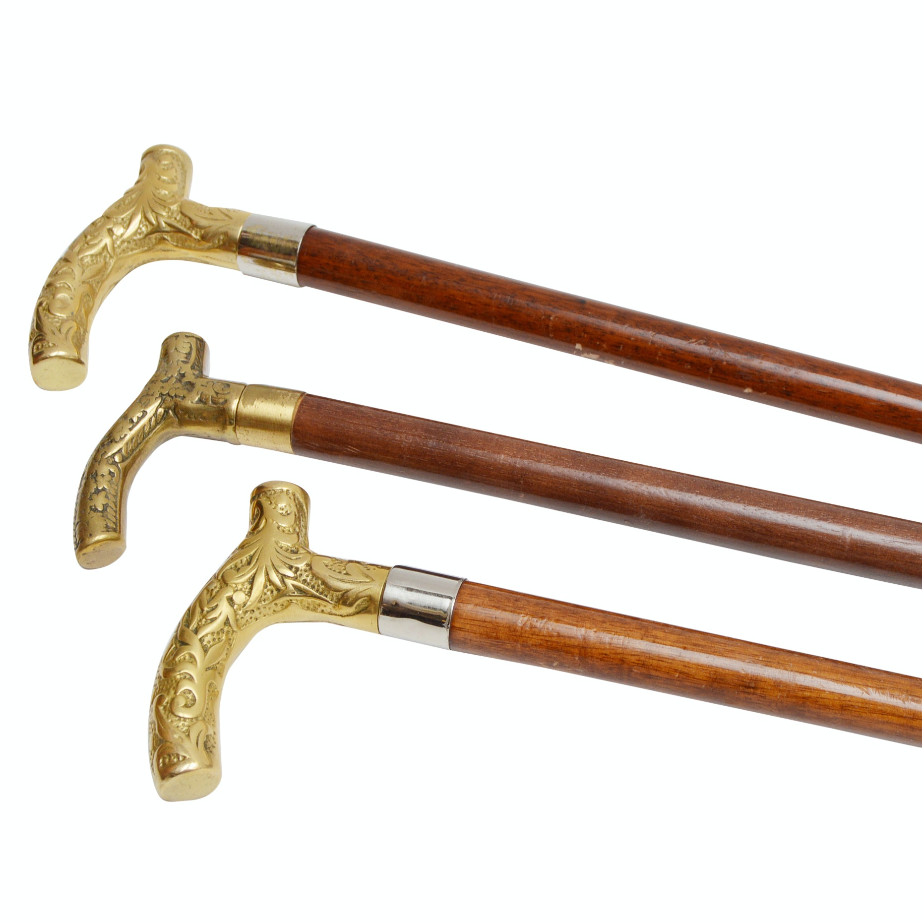 Three Vintage Wood and Brass Canes