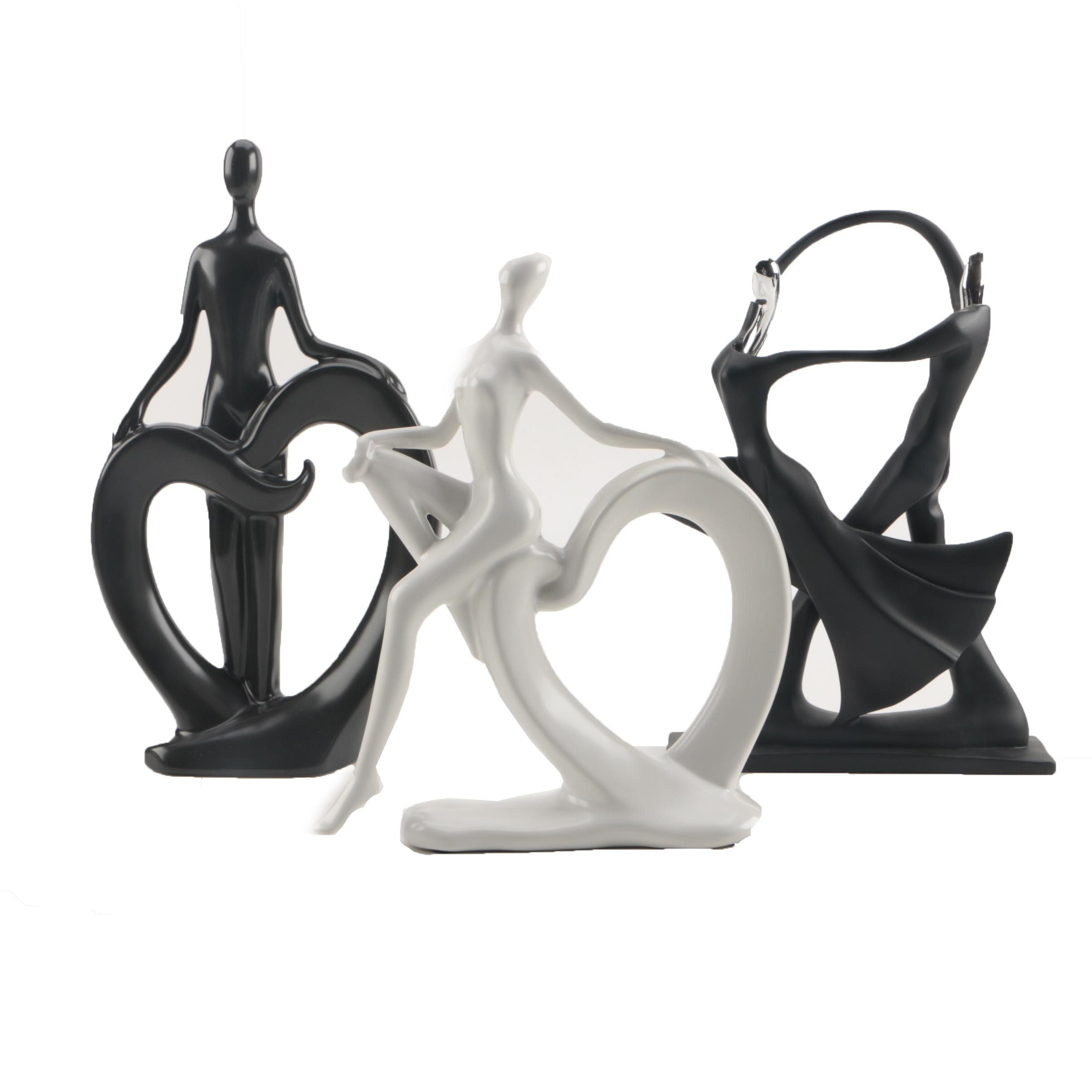 Art Deco Style Ceramic and Metal Dancer Figurines