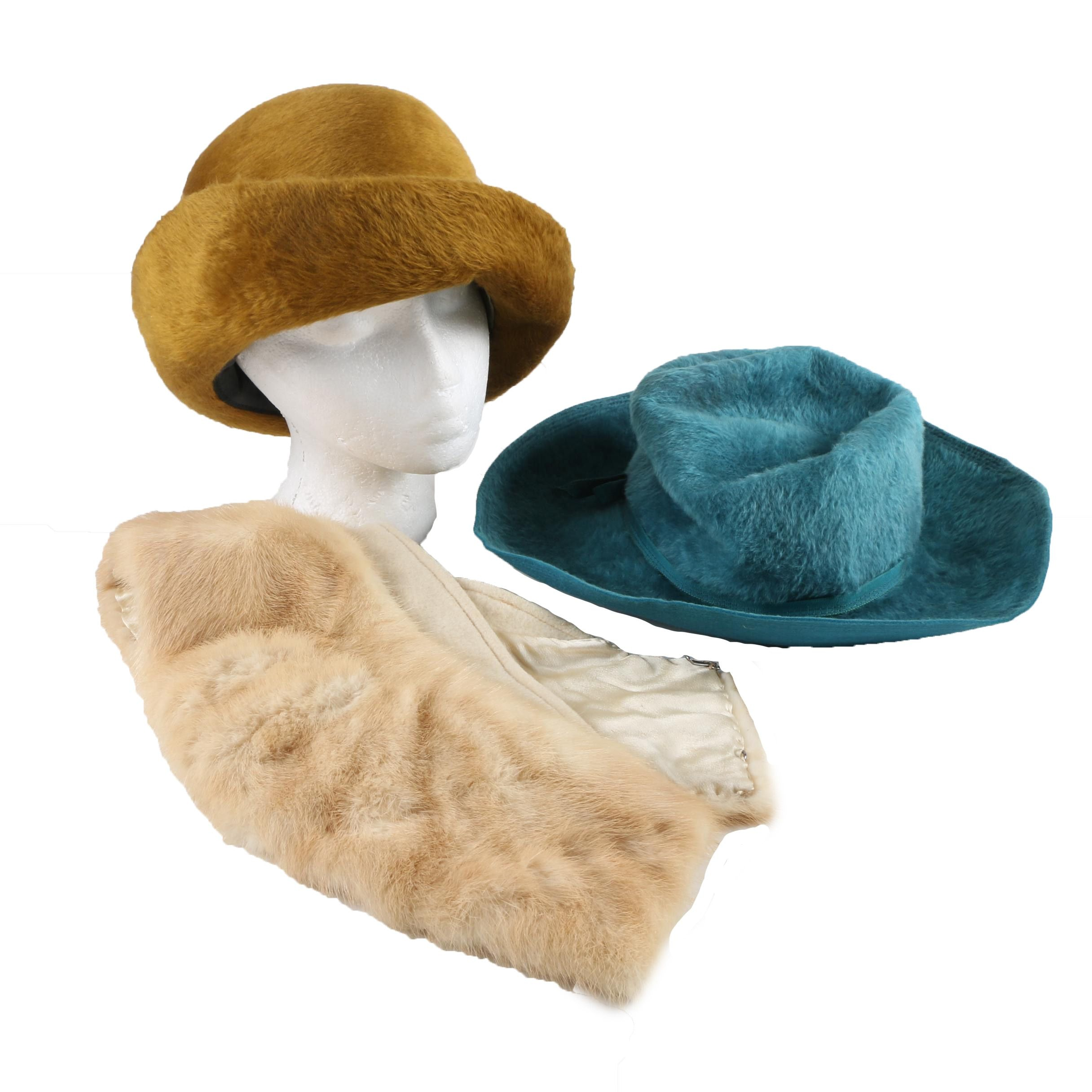 Vintage Fur Felt Hats by Betmar and Coralie with Blonde Mink Fur Collar