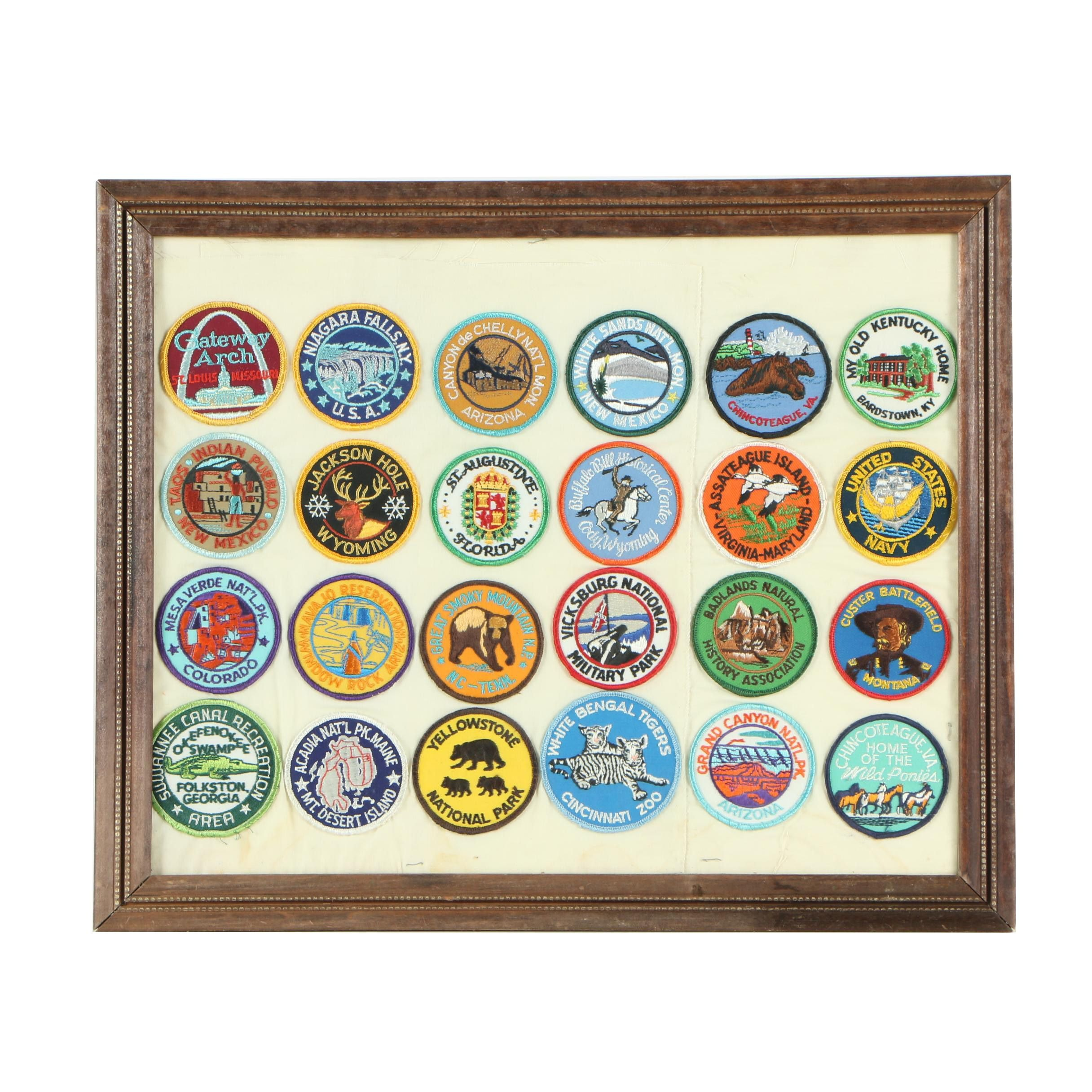 Framed Embroidered U.S. Tourist Patches