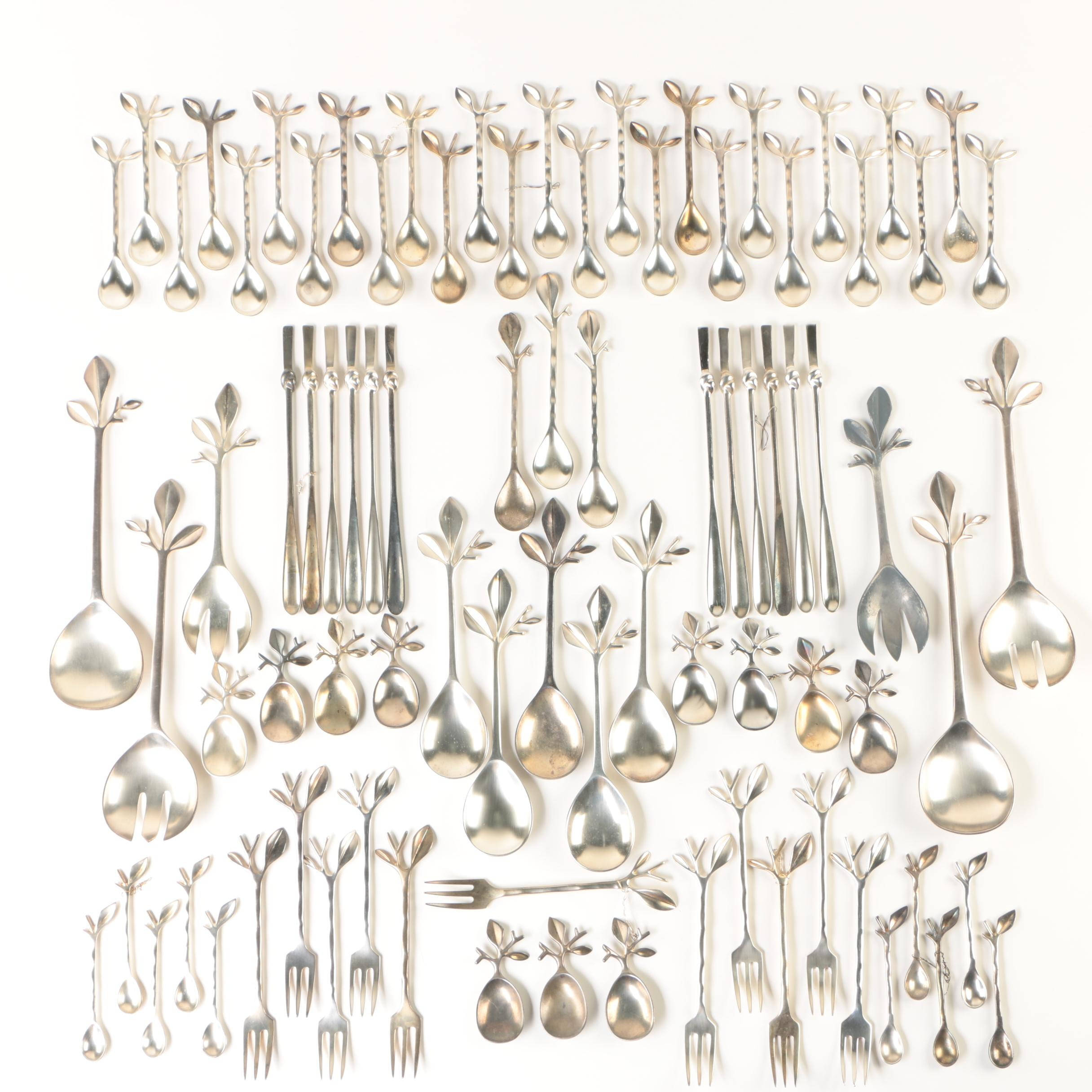 Blue Leaves French Nature-Inspired Silver Plate Serving Utensils and Flatware