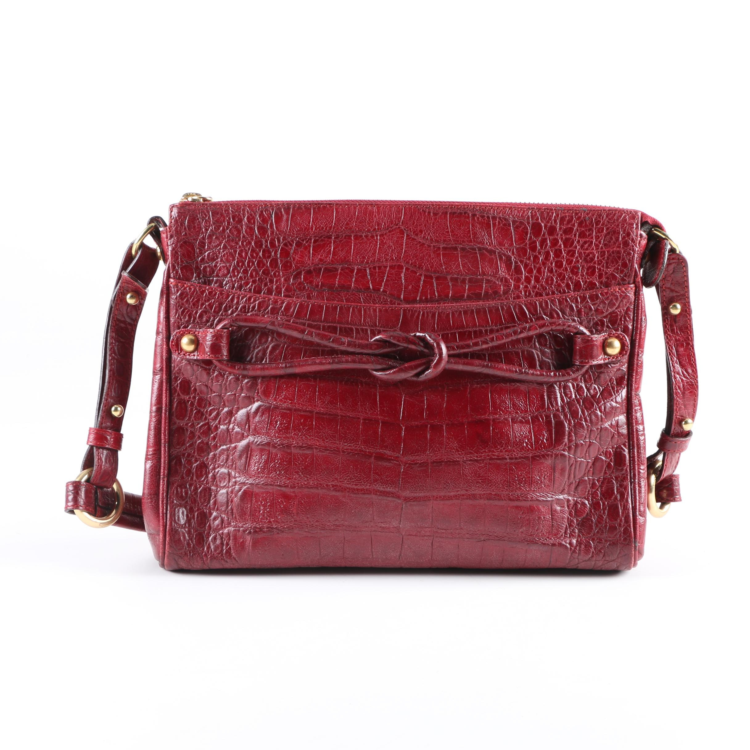 Brahmin Crocodile Embossed Red Leather Bag