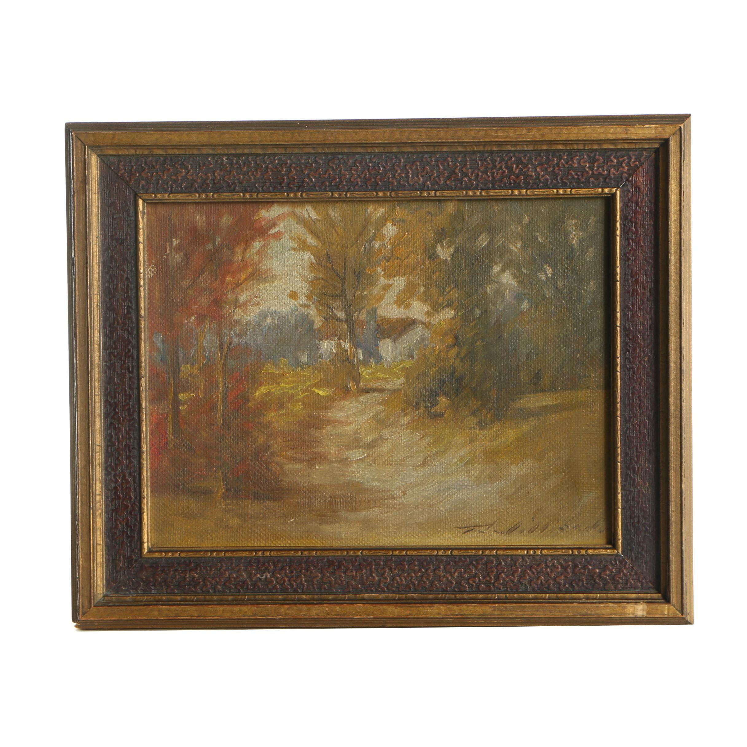 Thomas Willison Oil Painting of an Autumnal Landscape