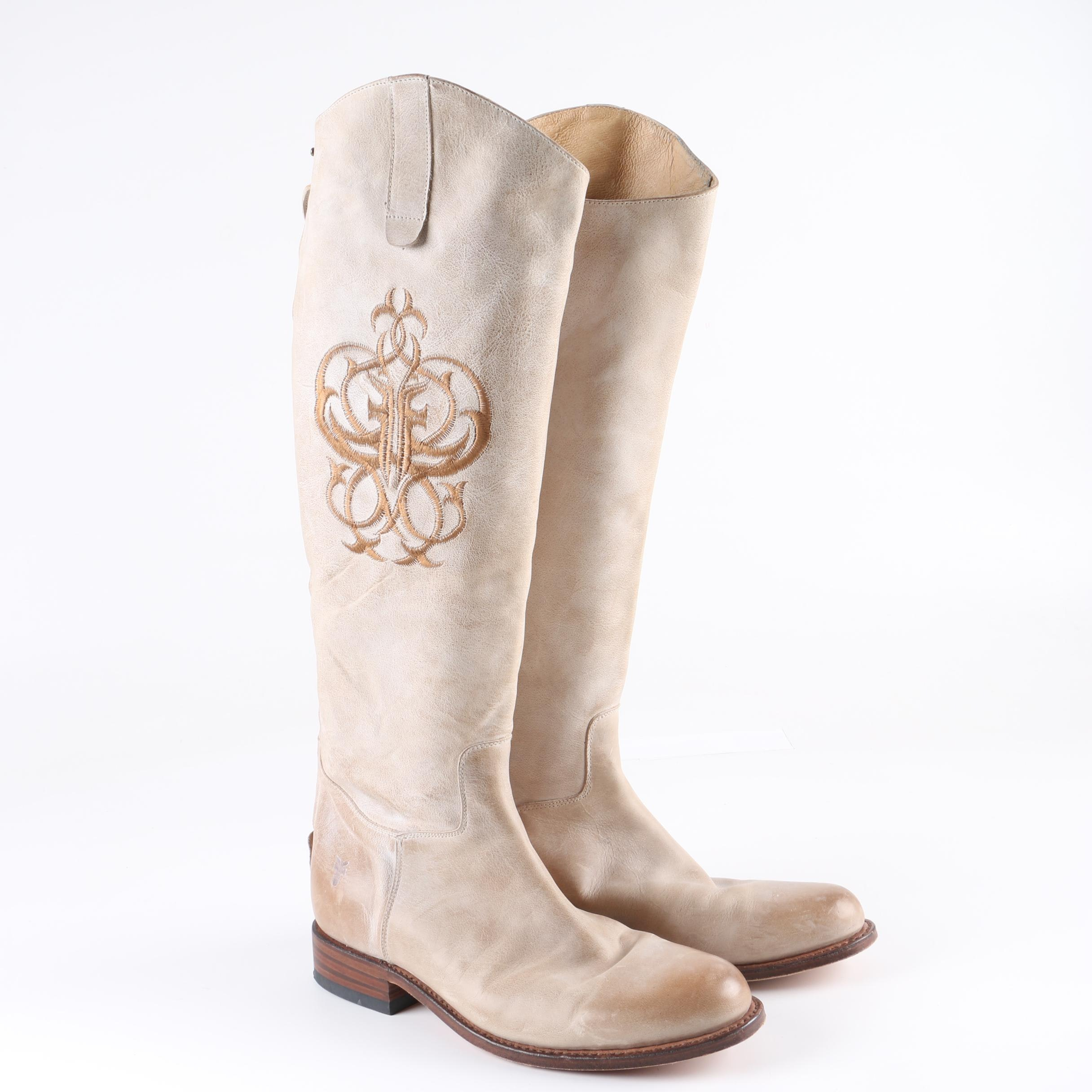 Women's Frye Off-White Leather Riding Boots with Embroidered Accents