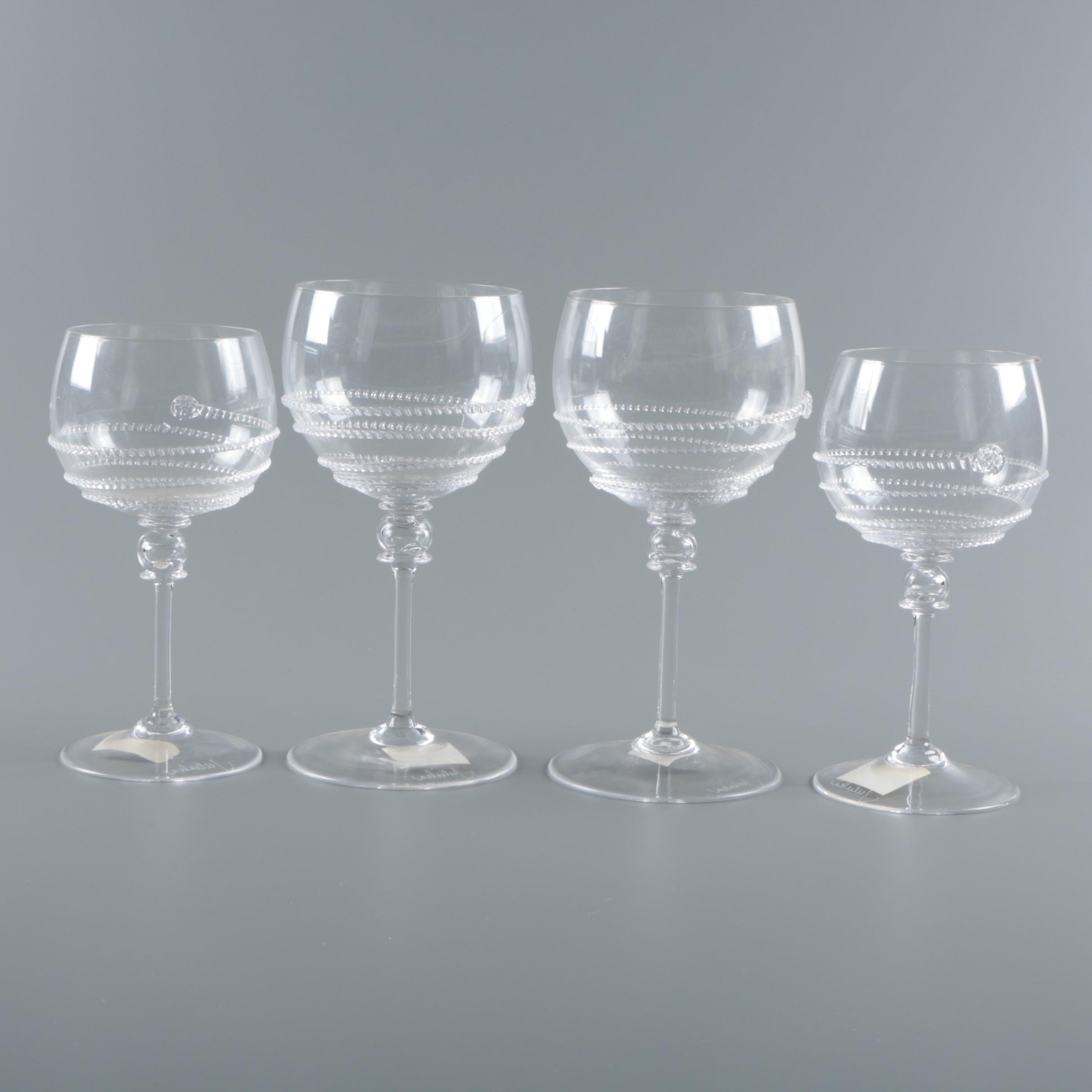 "Juliska ""Amalia Clear"" Balloon Wine Glasses"