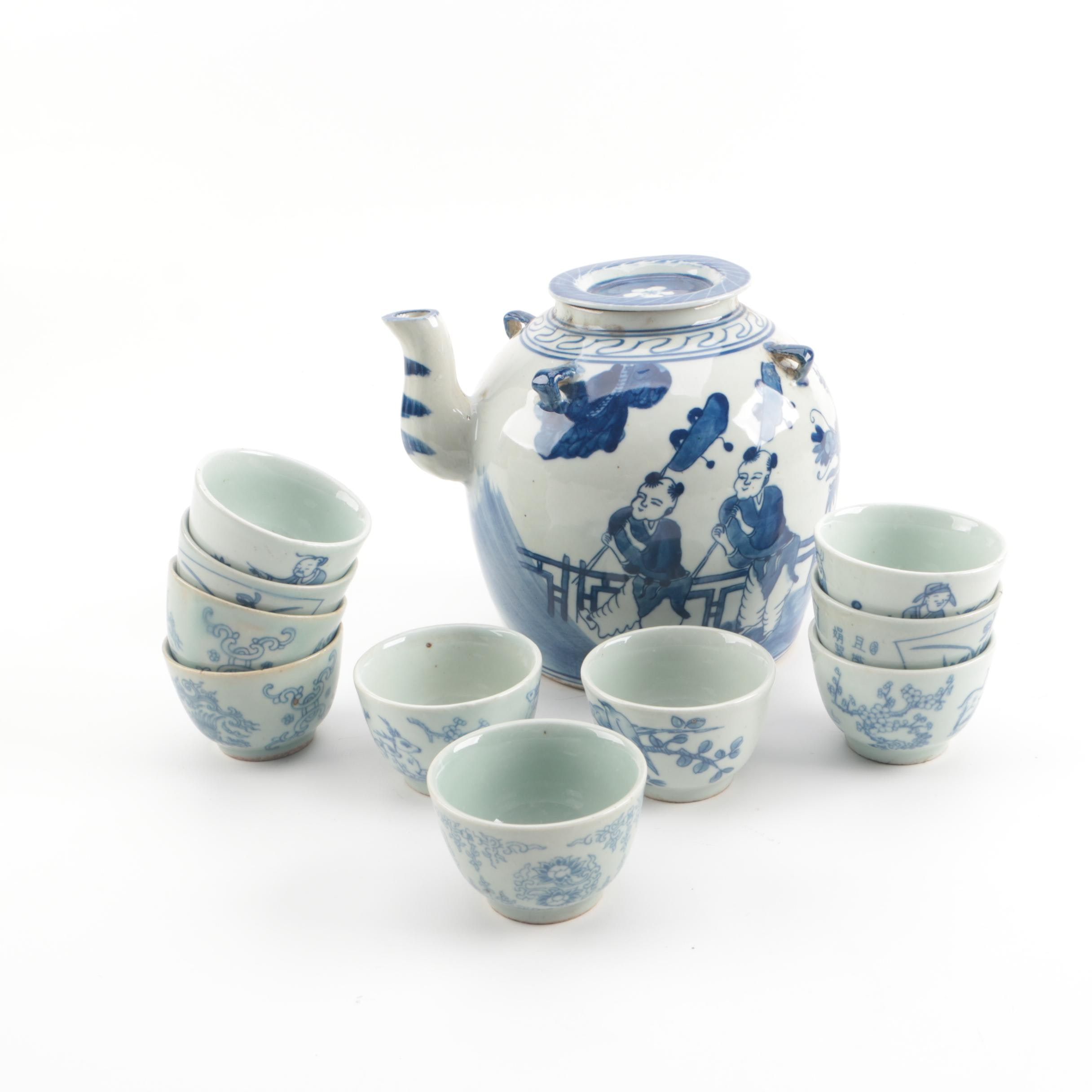 Chinese Republic Hand-Painted Porcelain Teapot with Footed Tea Cups