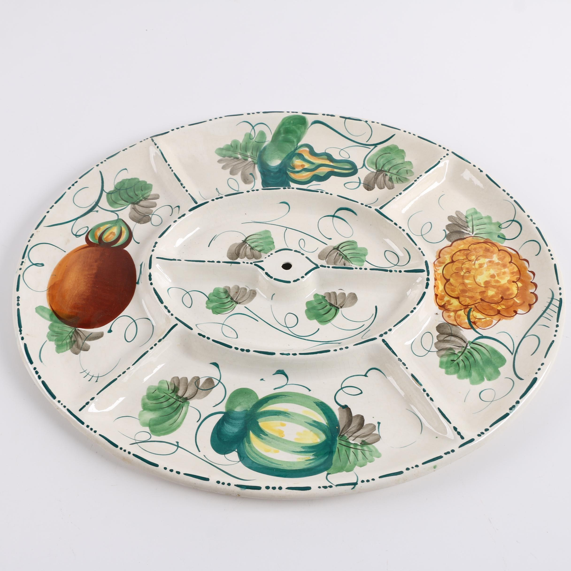 Vintage Elbee Hand-Painted Ceramic Divided Platter