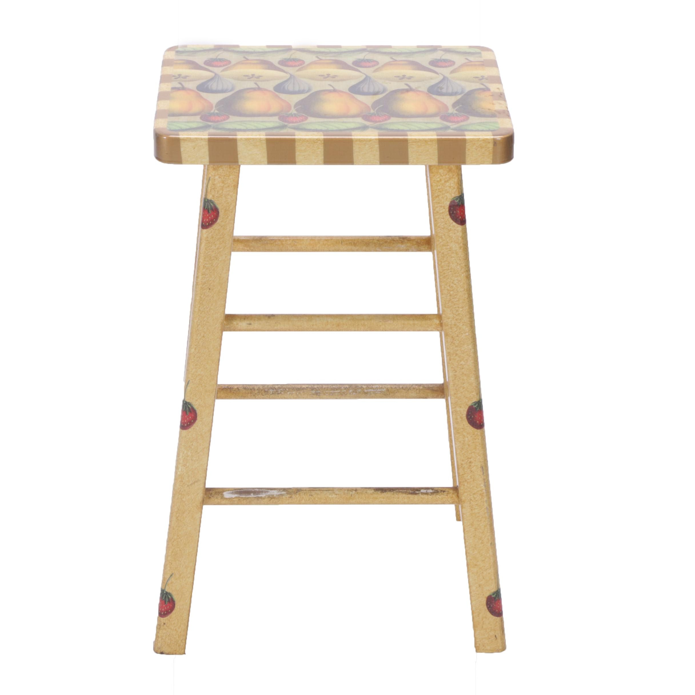 """Annie Modica """"Pears 'N Figs"""" Painted Stool"""