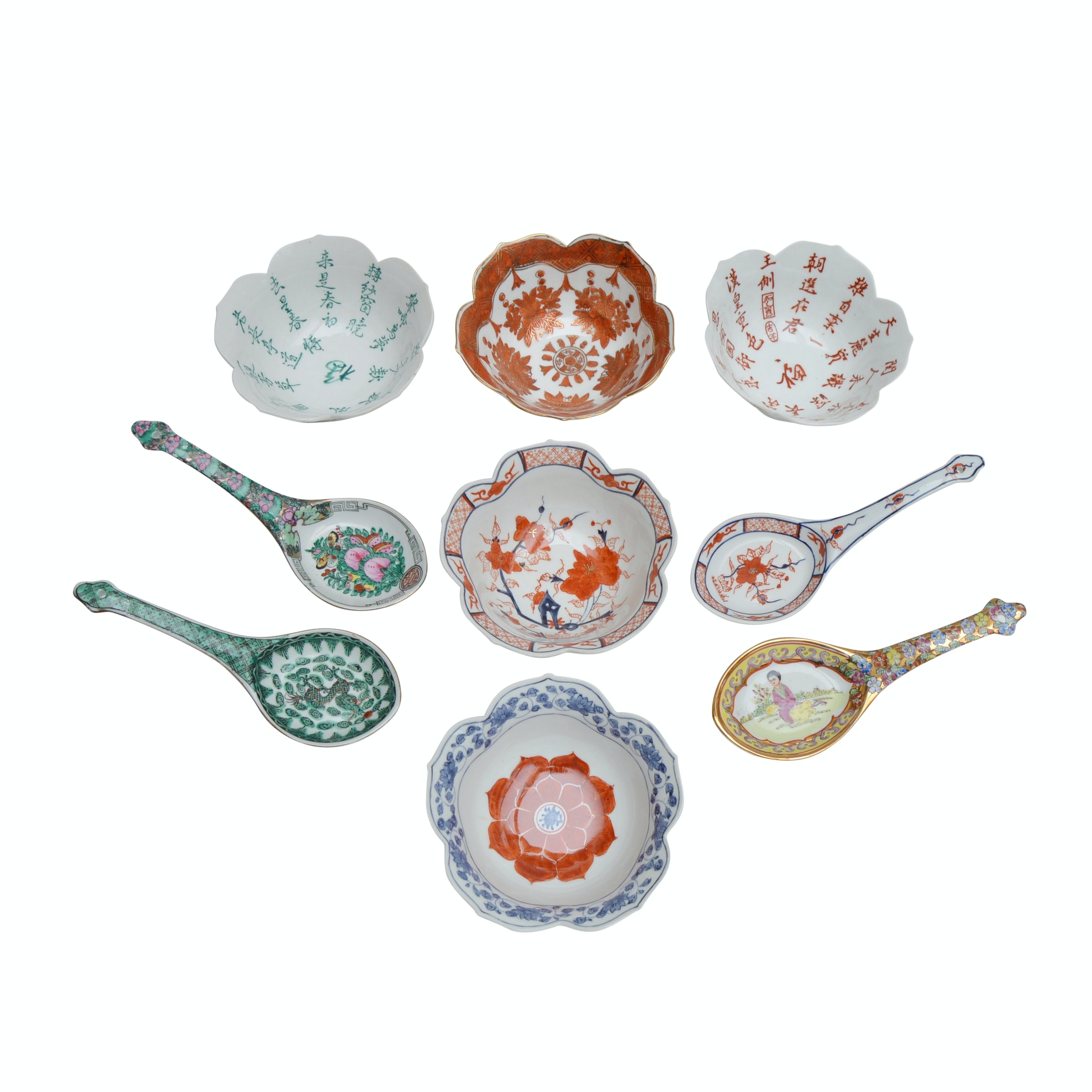 Vintage Chinese Rice Bowls and Spoons
