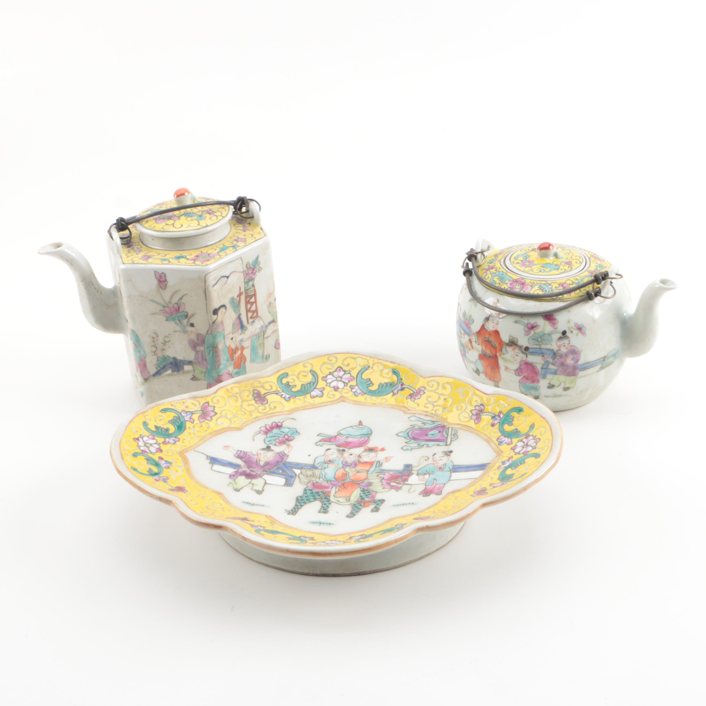 Chinese Polychrome Porcelain Coffee Pot, Teapot, and Footed Dish