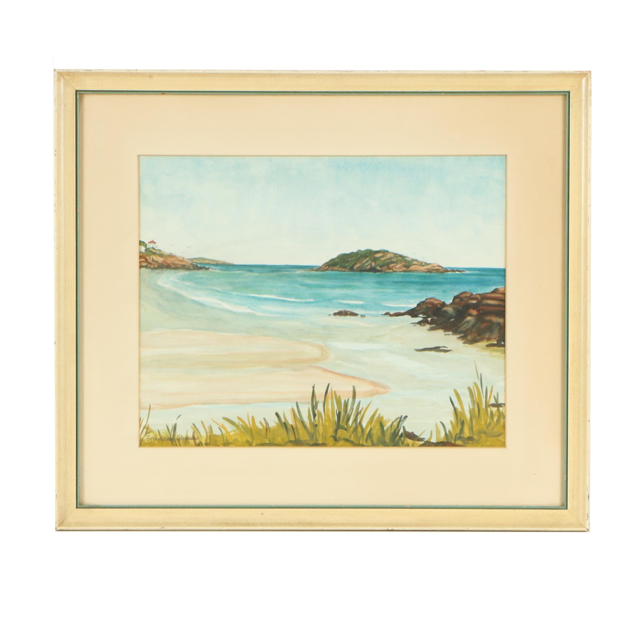 """Frances Pogue Nelson Watercolor Painting """"Salt Island"""""""