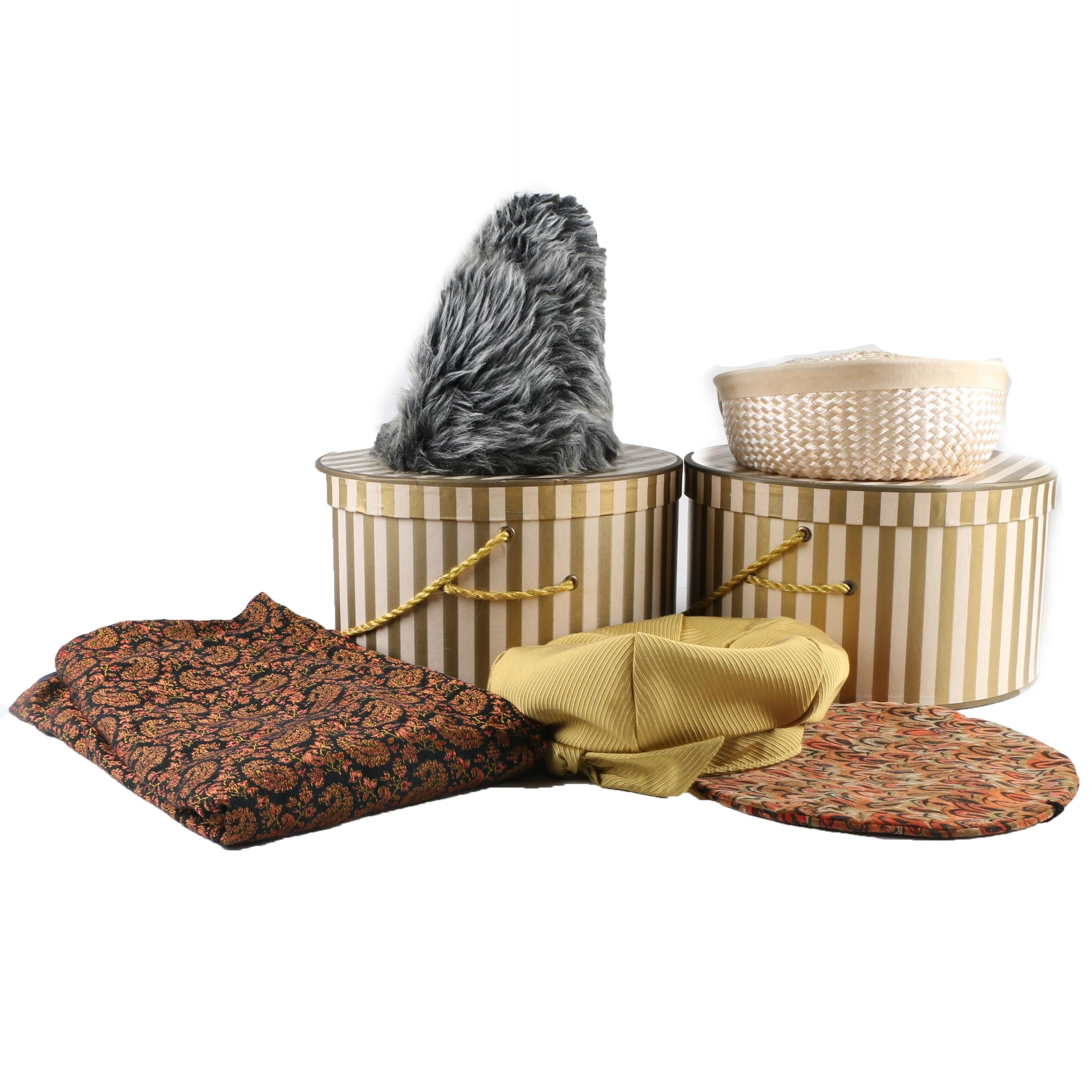 Women's Vintage Hats, Hat Boxes and Shawl Including Mr. Paul