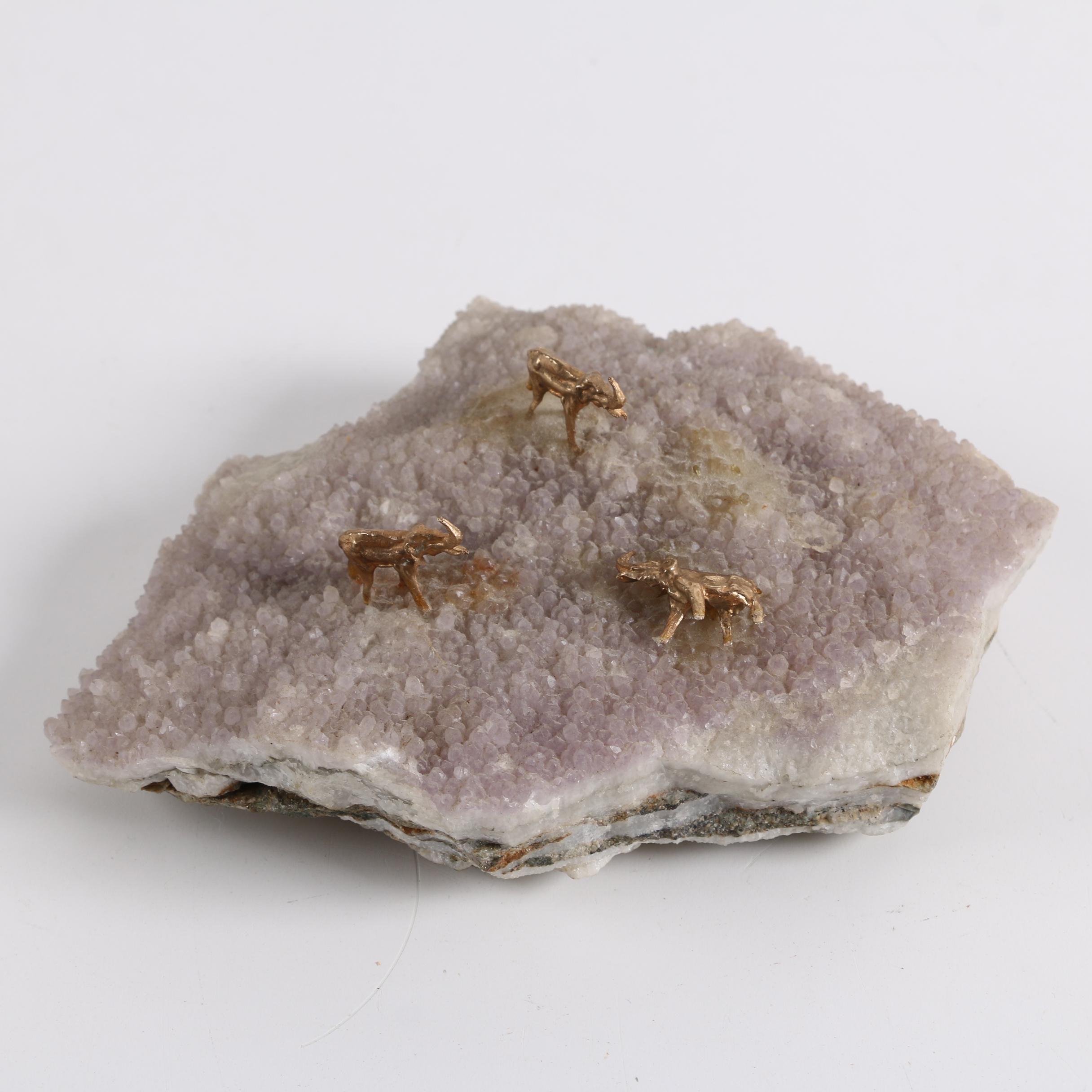 Crystal Geode with Metal Elephants