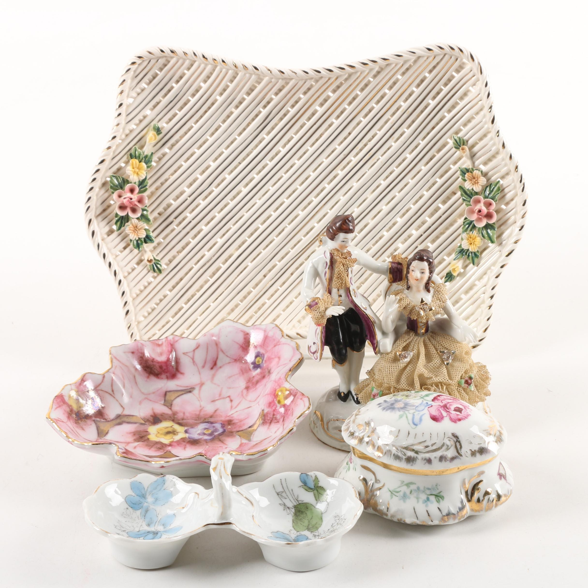 Vintage Dresden Lace Figurine, Porcelain Trays, and Lidded Trinket Box