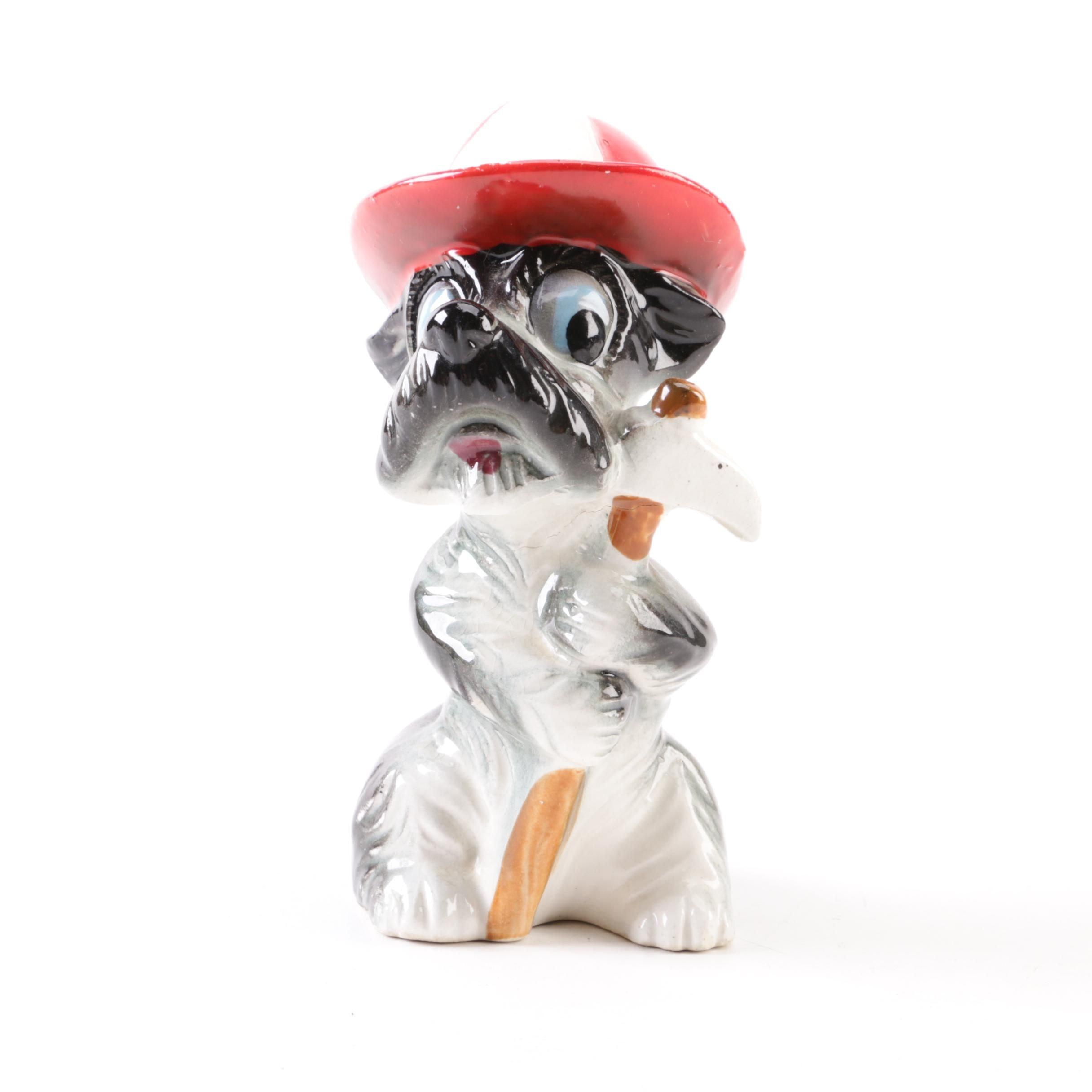 Vintage Firefighter Schnauzer Ceramic Figurine