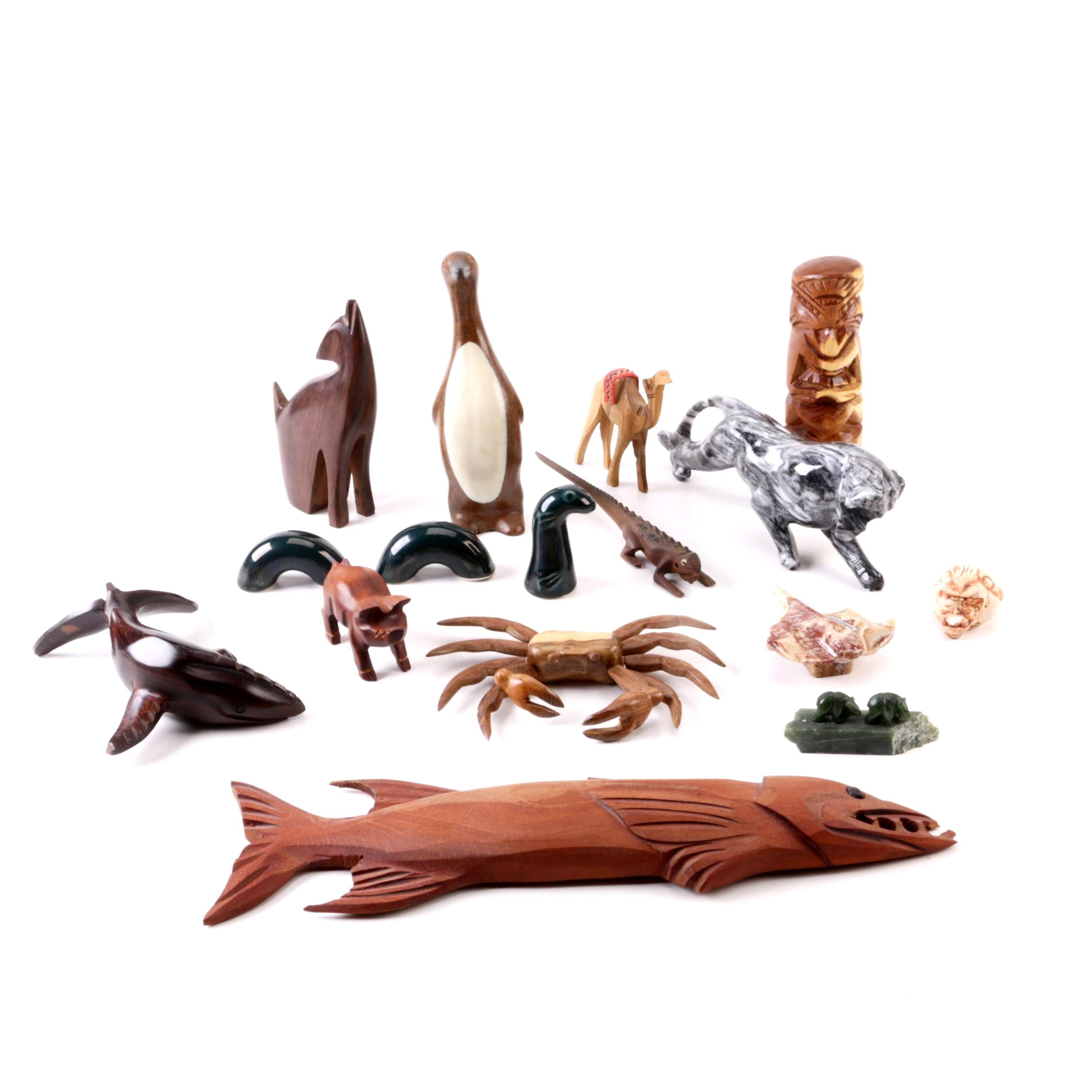 Stone, Wood and Ceramic Animal Figurines