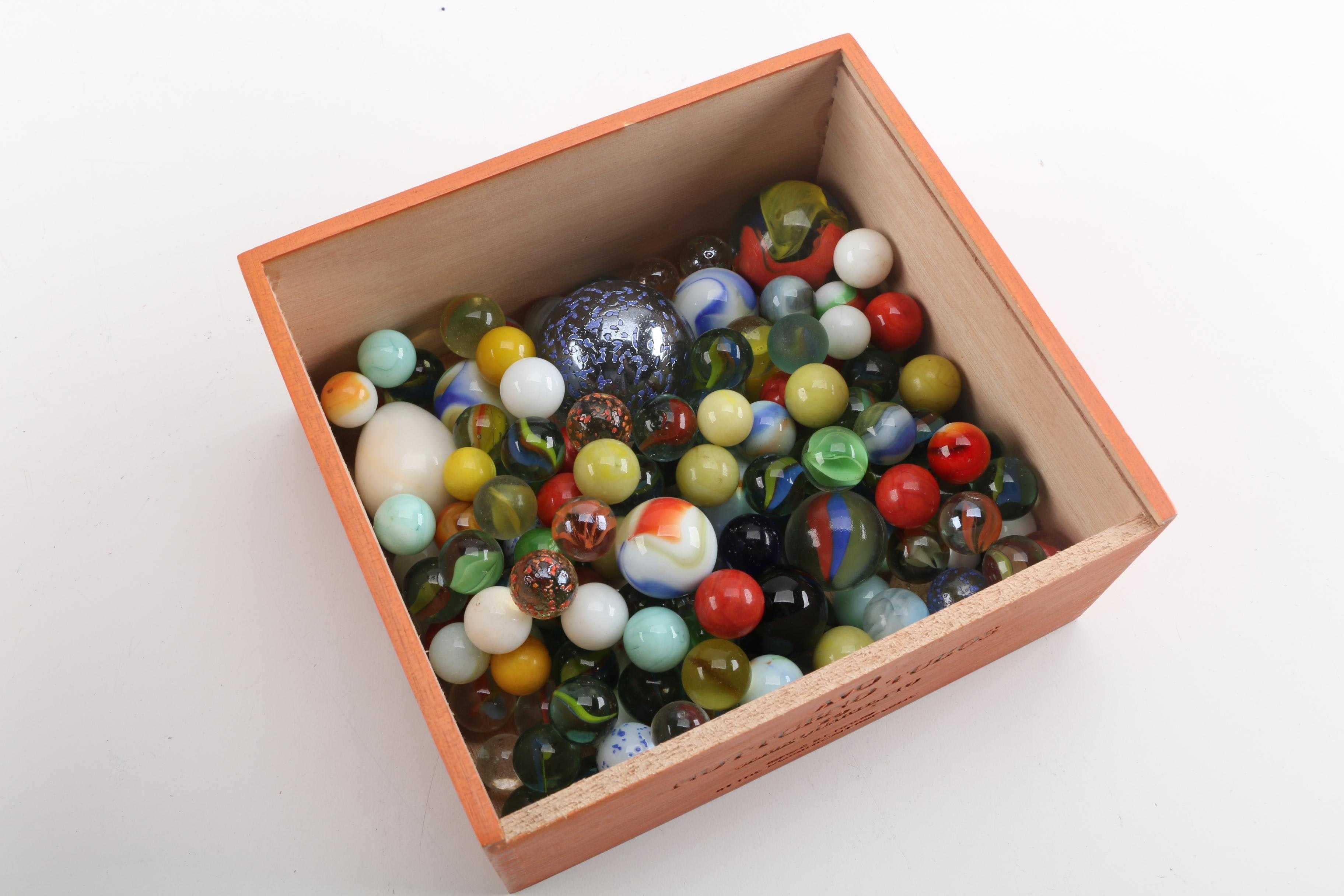 Marble Egg and Glass Marble Collection with Wooden Cigar Box