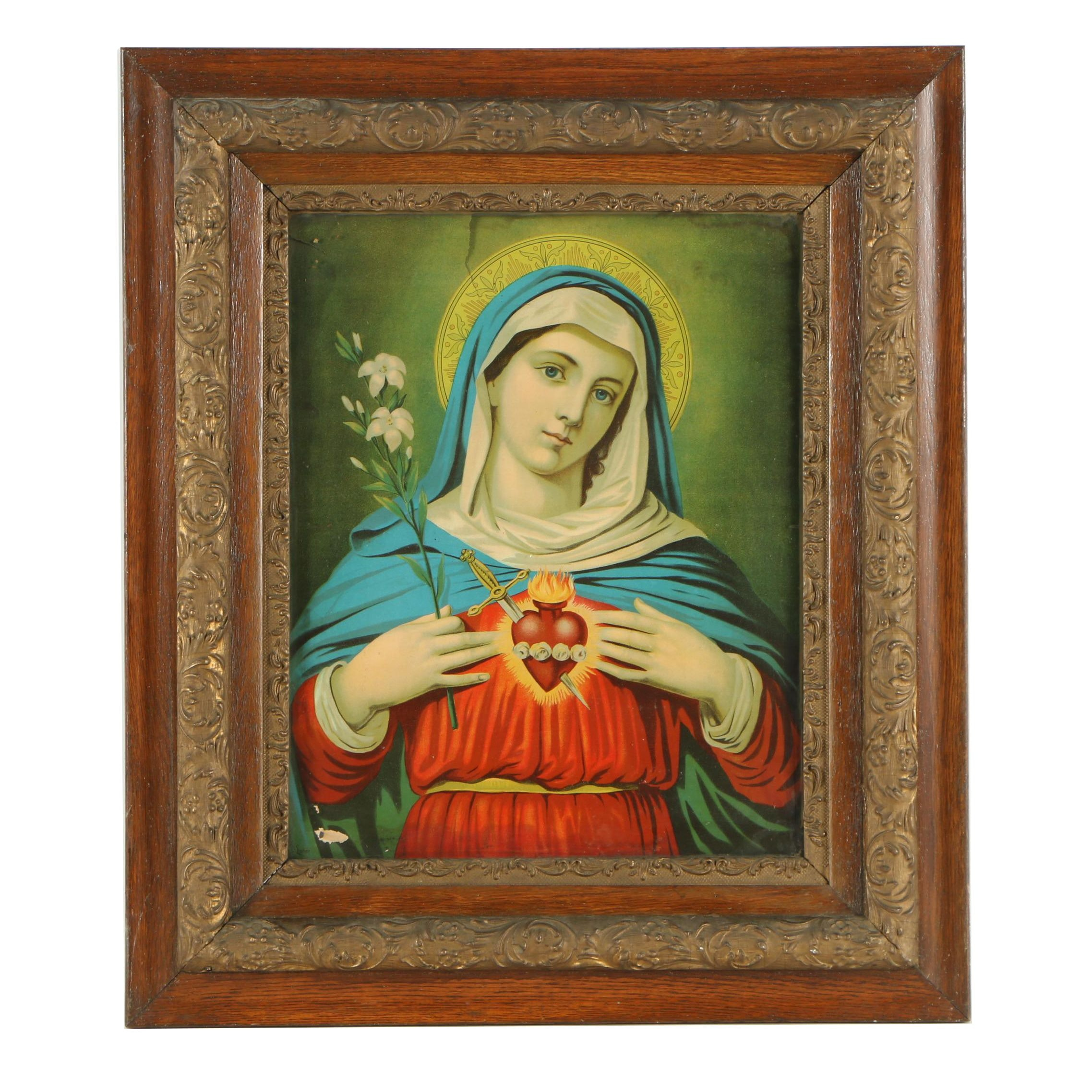 """Lithographic Print After Leiber """"Immaculate Heart of Mary"""""""