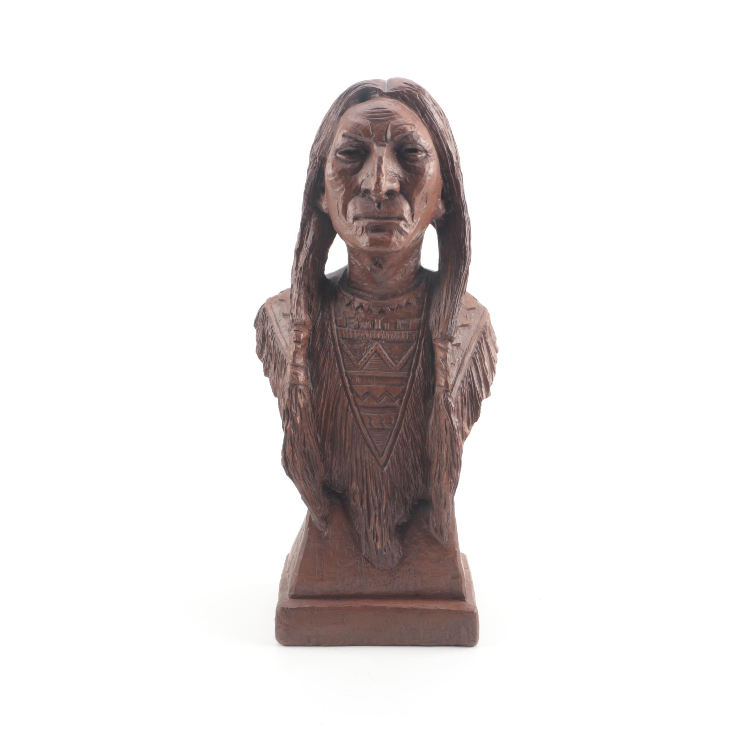 1987 Red Mill Mfg Handcrafted Bust of Native American