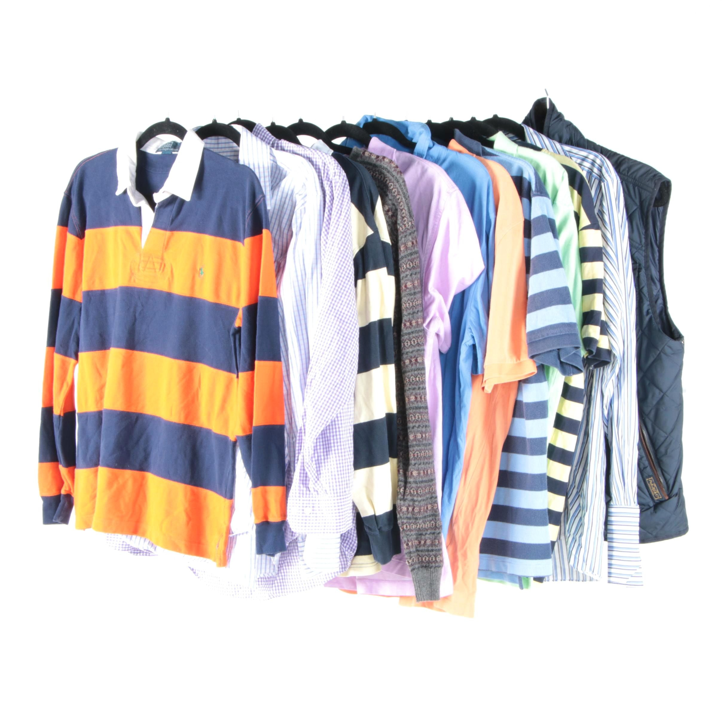 Men's Shirts and Vest Including Polo by Ralph Lauren and Brooks Brothers