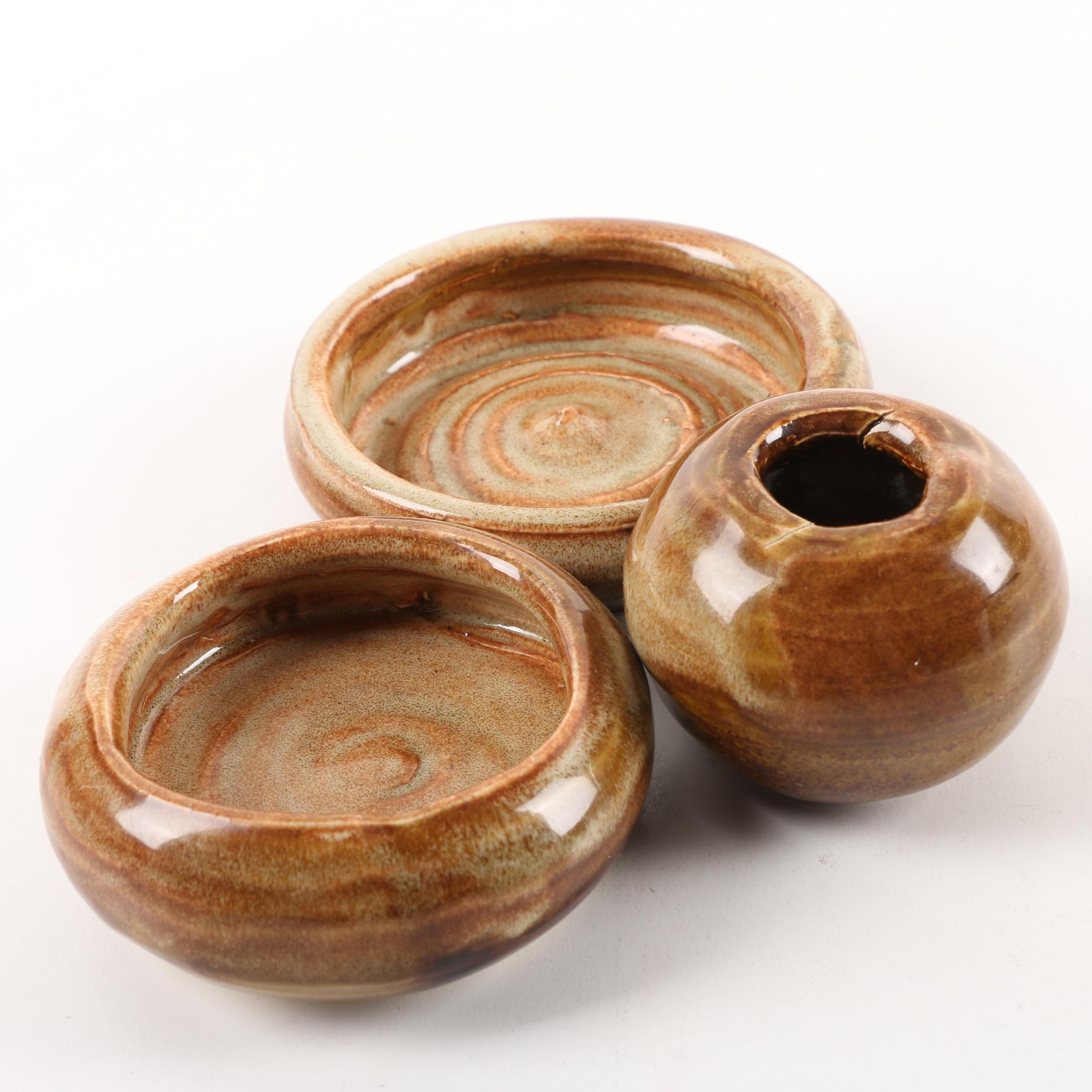 Alexandria Clay Co-Op Signed Stoneware Vessels by Laura