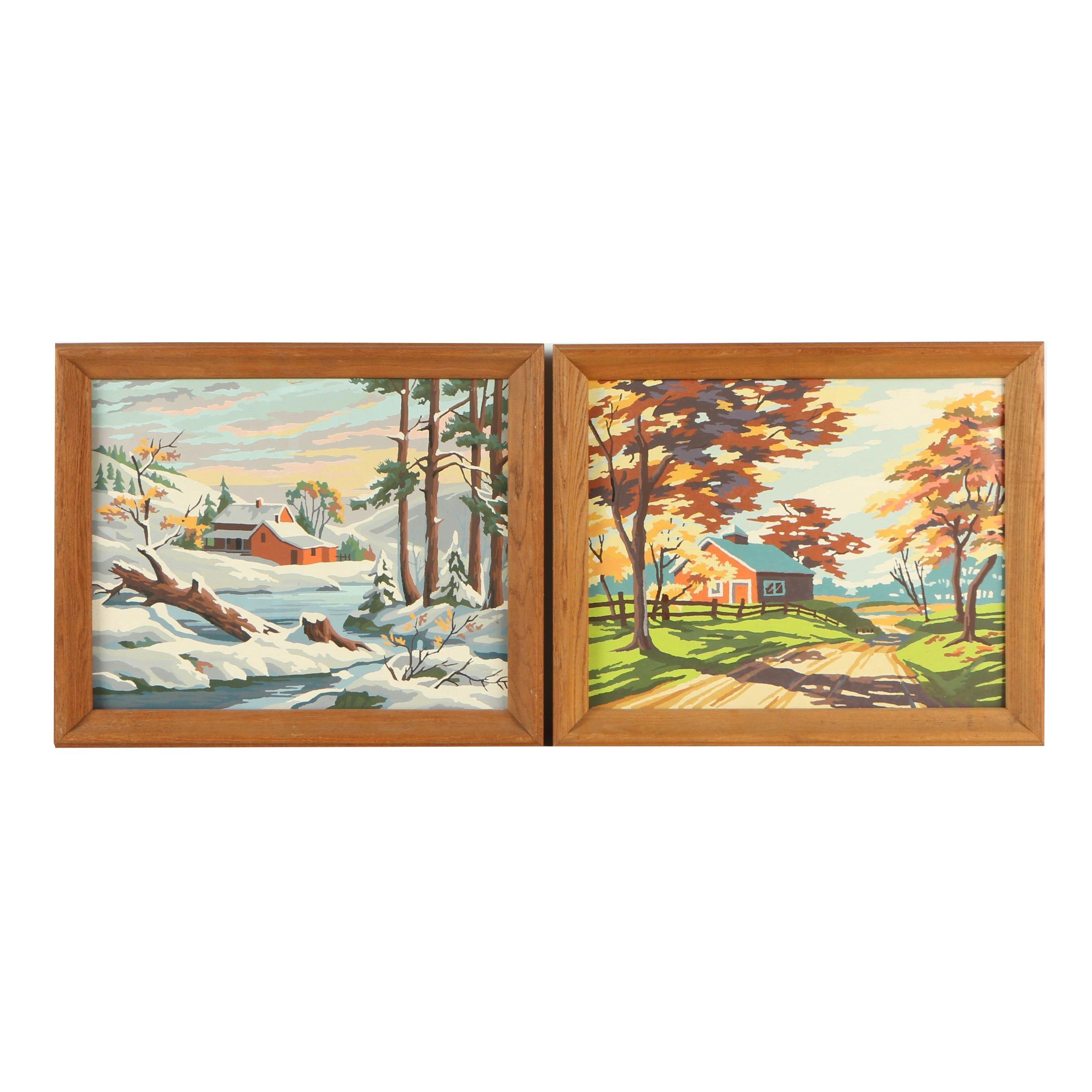 Two Paint by Number Oil Paintings