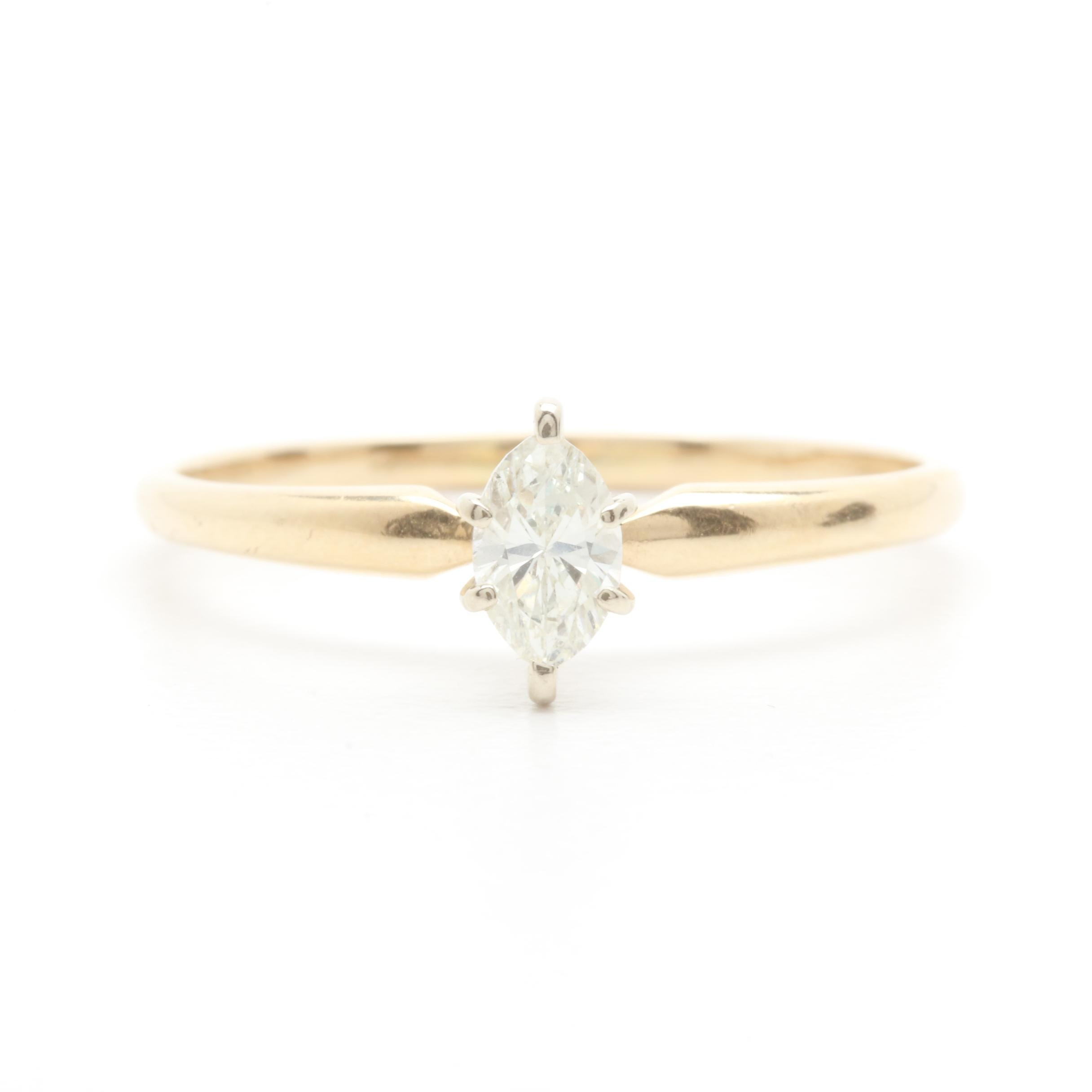 14K Yellow Gold Diamond Solitaire Ring with White Gold Head