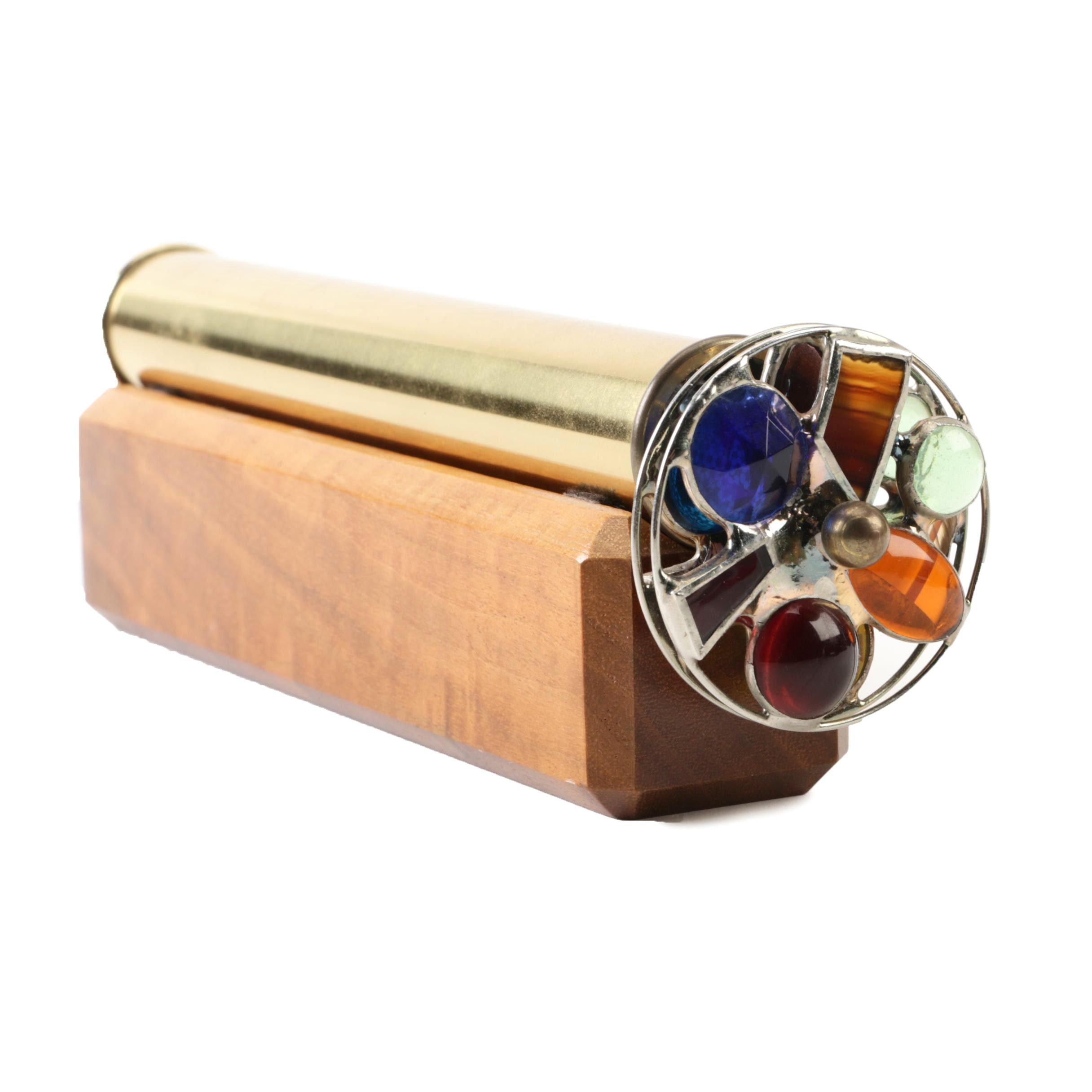 Brass Kaleidoscope By Sheryl Koch with Wood Stand
