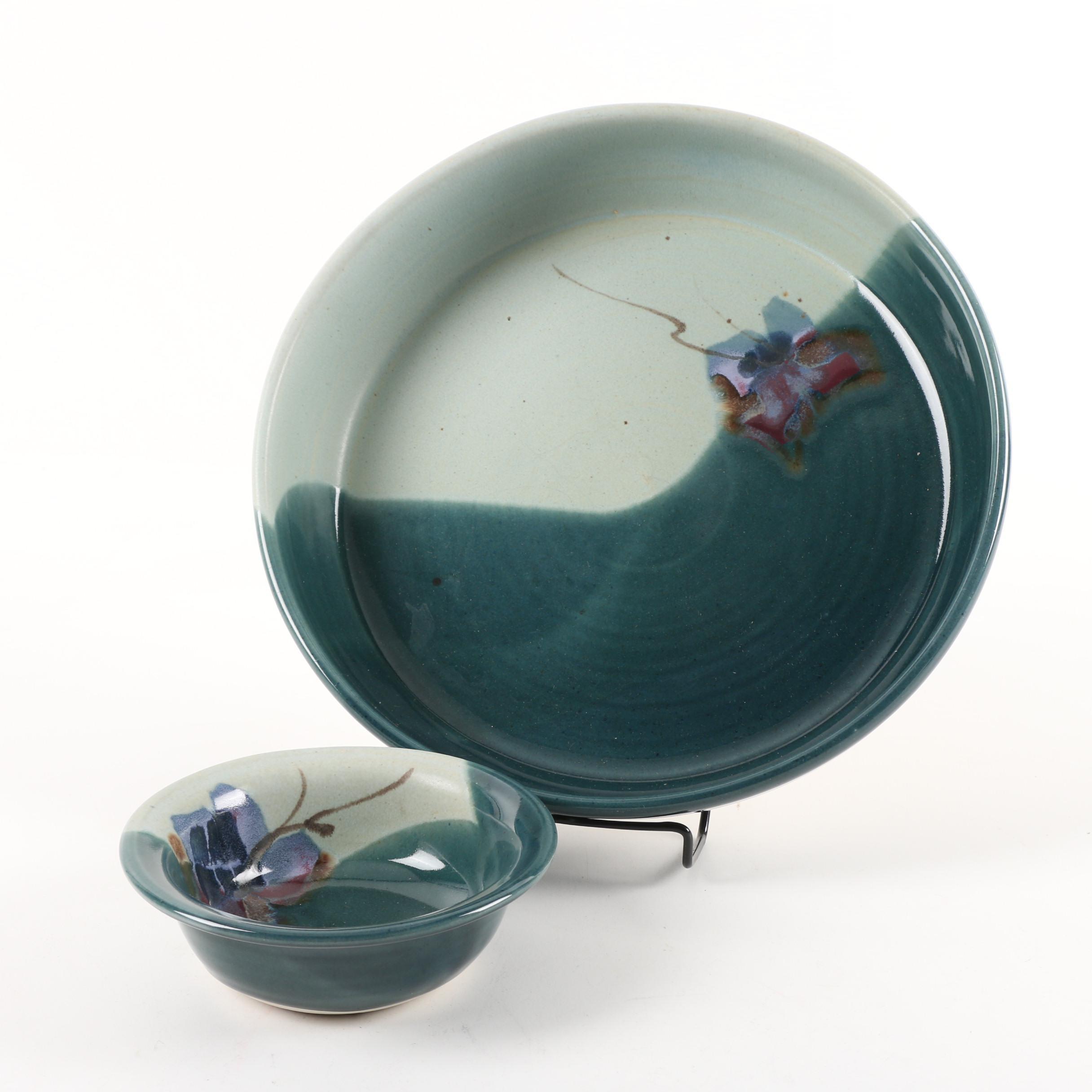 Vintage Kent Follette Signed Glazed Stoneware Bowls