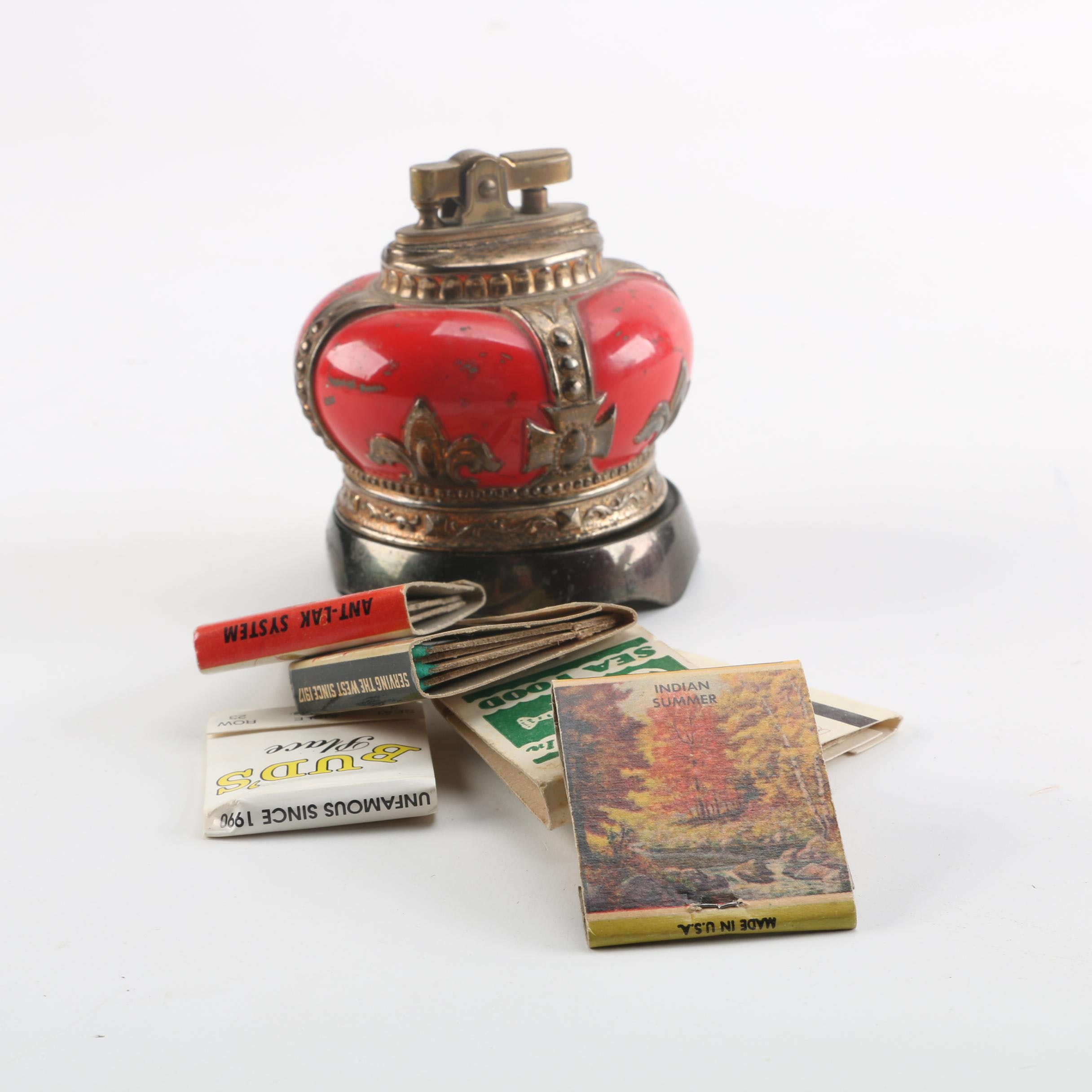 Red Crown Music Box Table Lighter and Matches