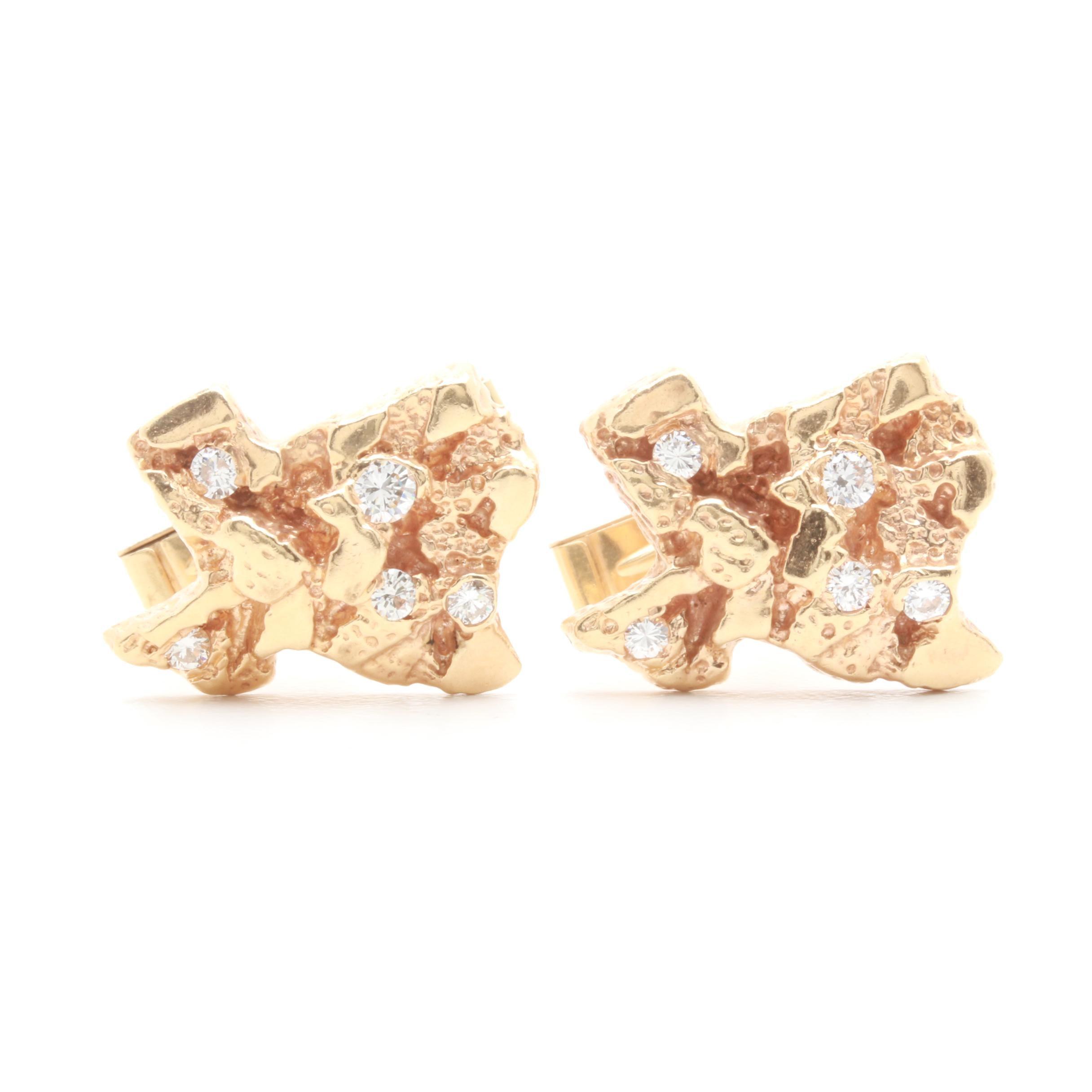 14K Yellow Gold Diamond State of Texas Cufflinks