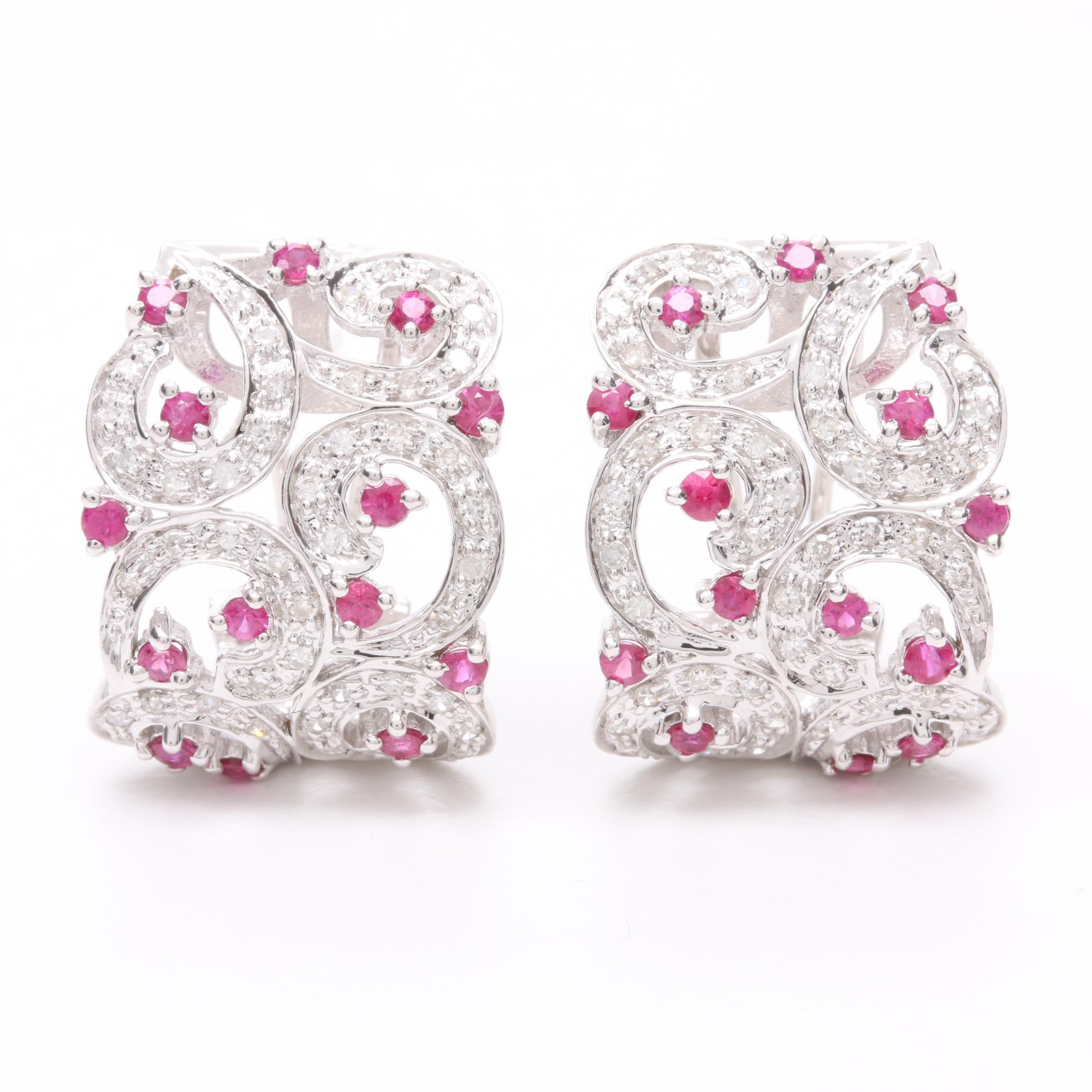 14K White Gold Pink Sapphire and Diamond J-Hoop Earrings