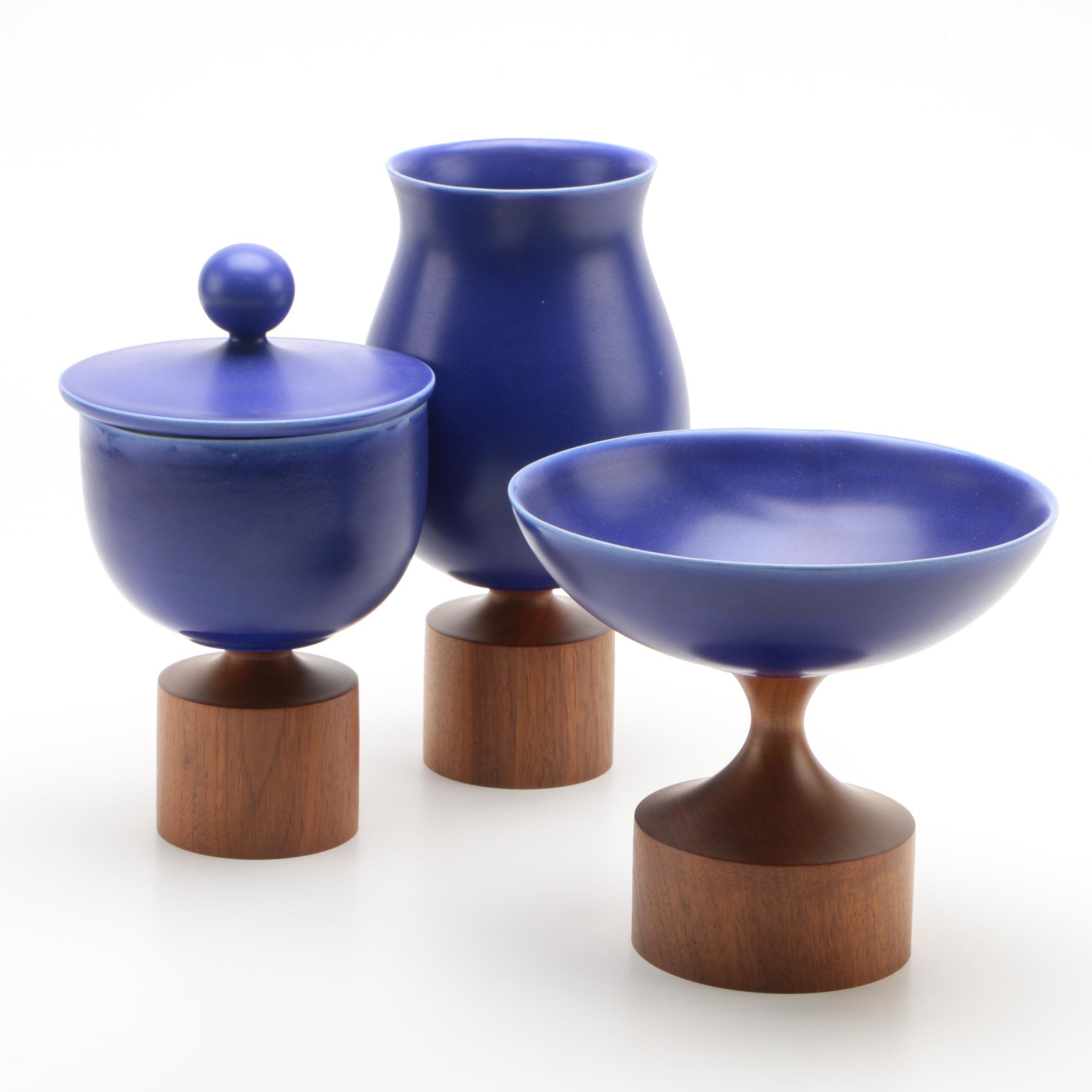 KleinReid Handmade Porcelain and Walnut Serveware and Vase