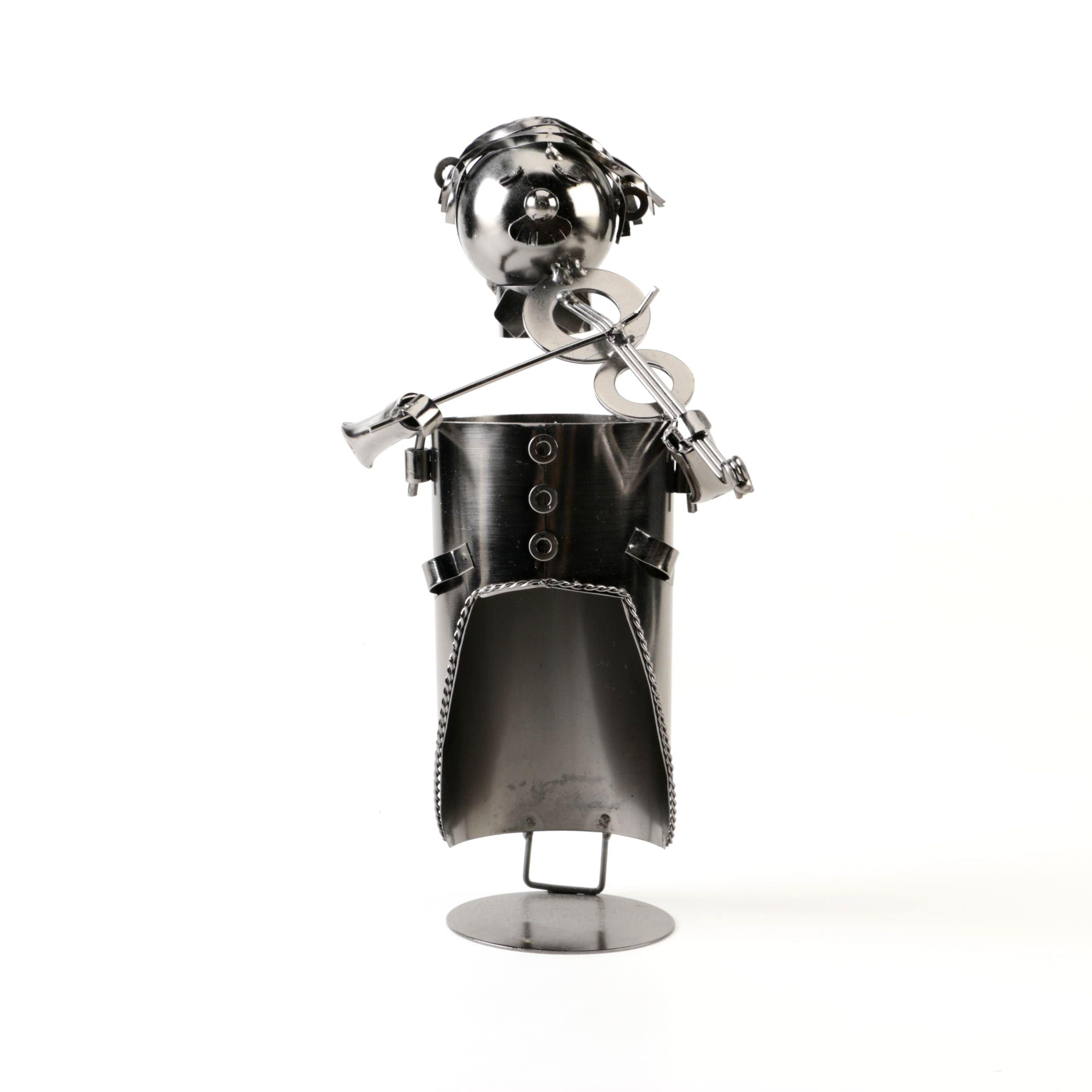 Figural Metal Violinist Wine Bottle Holder