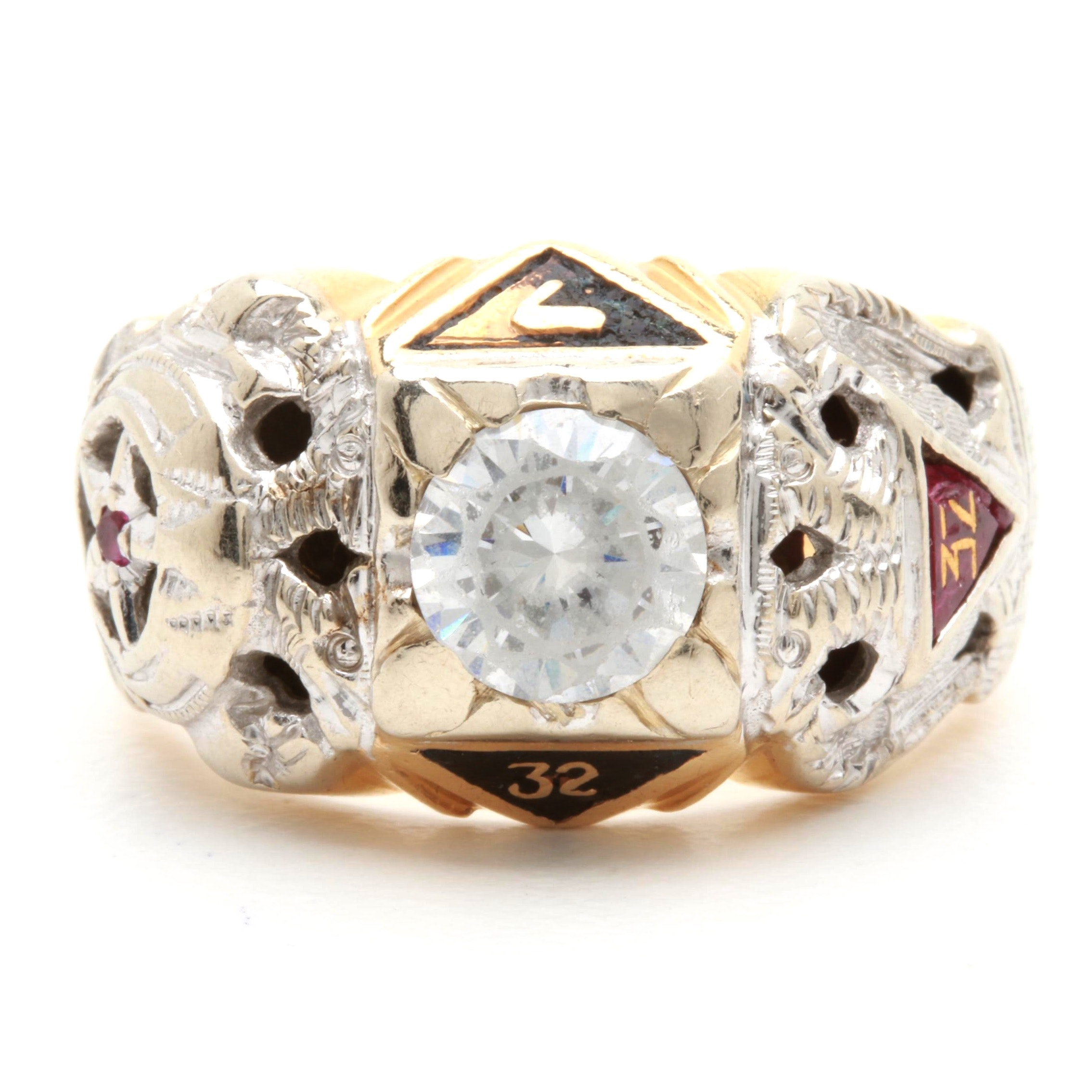 14K Yellow Gold GGG (Diamond Simulate), 1.20 CTW Synthetic Ruby and Enamel Ring