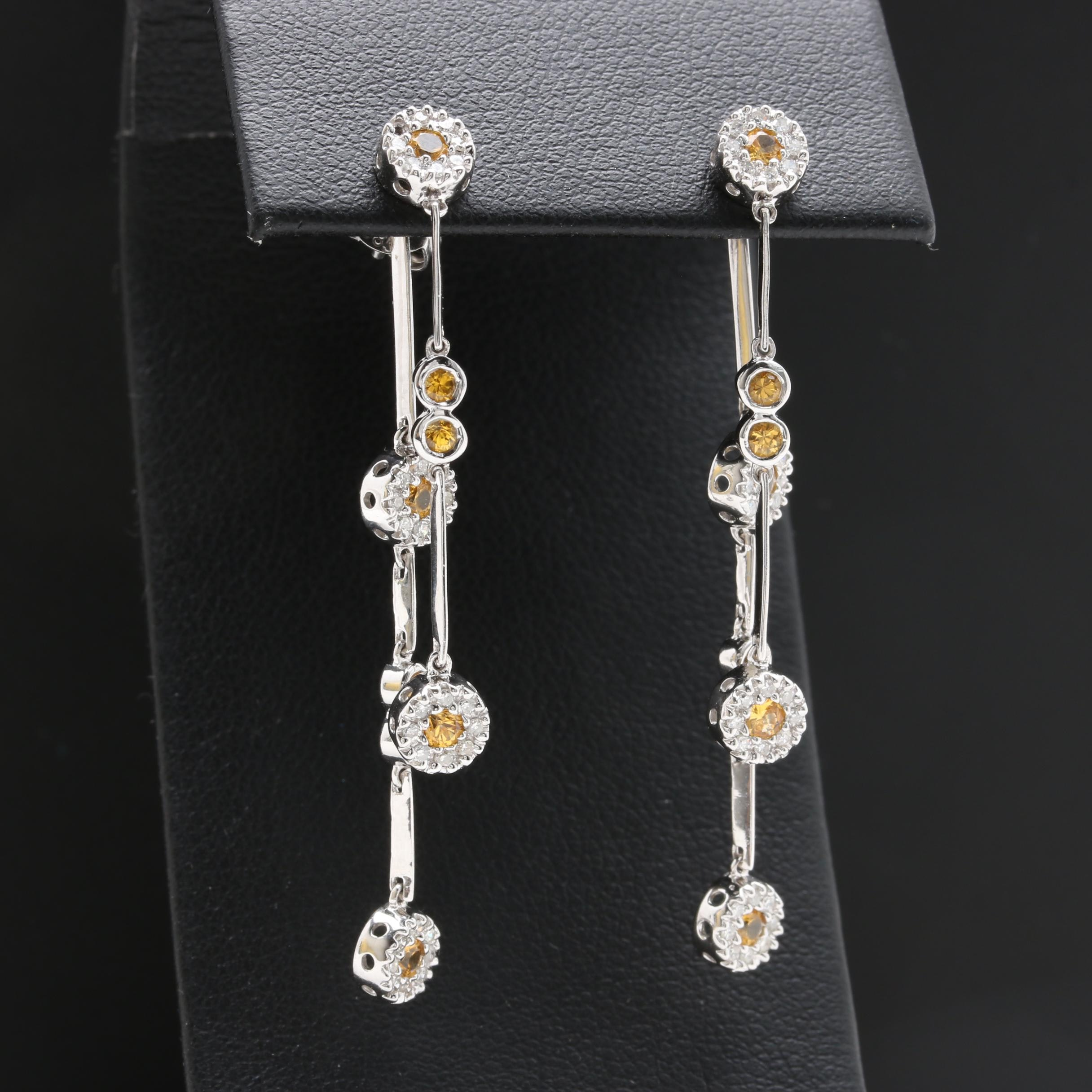14K White Gold Yellow Sapphire and Diamond Dangle Earrings with Enhancers