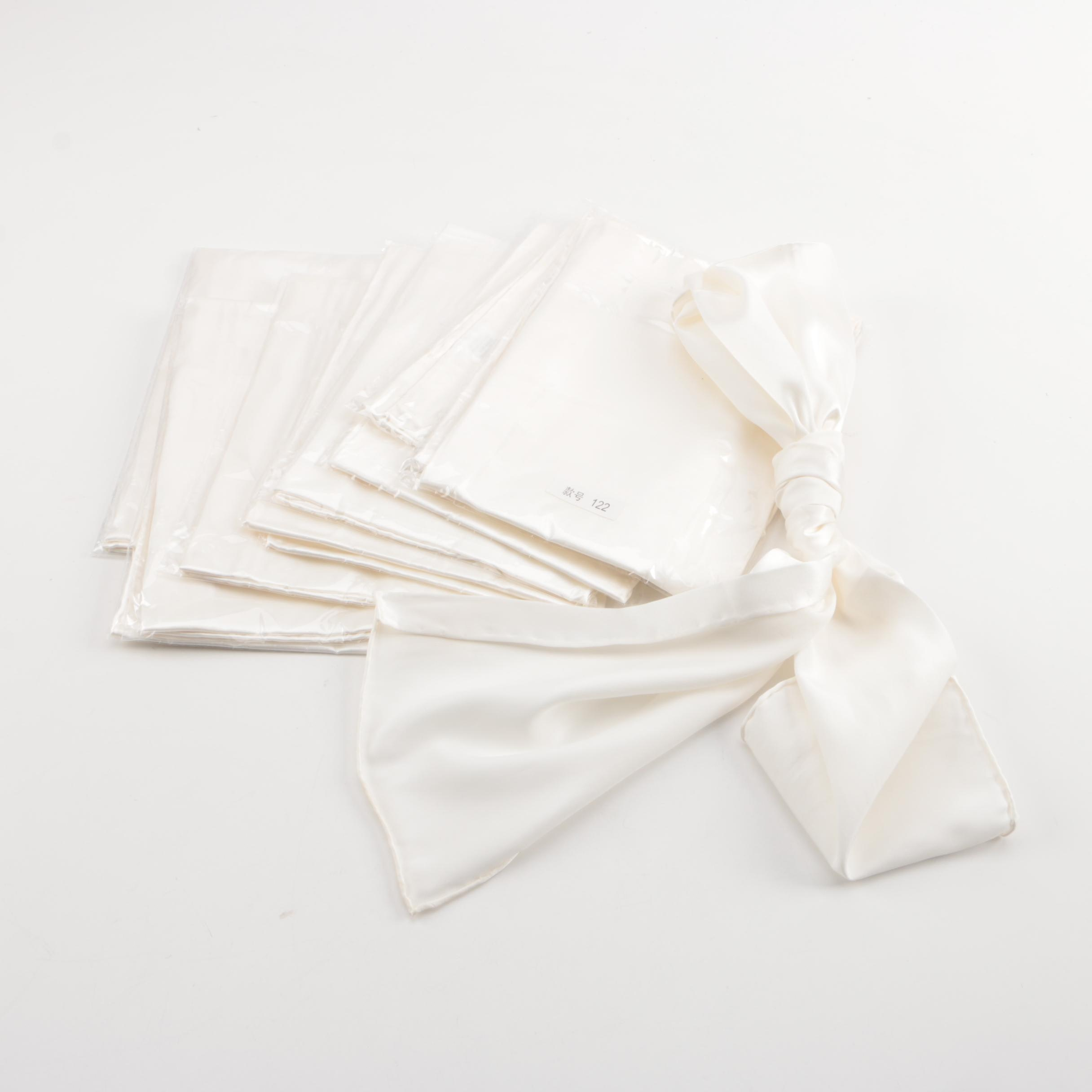 Rectangular White Silk Scarves
