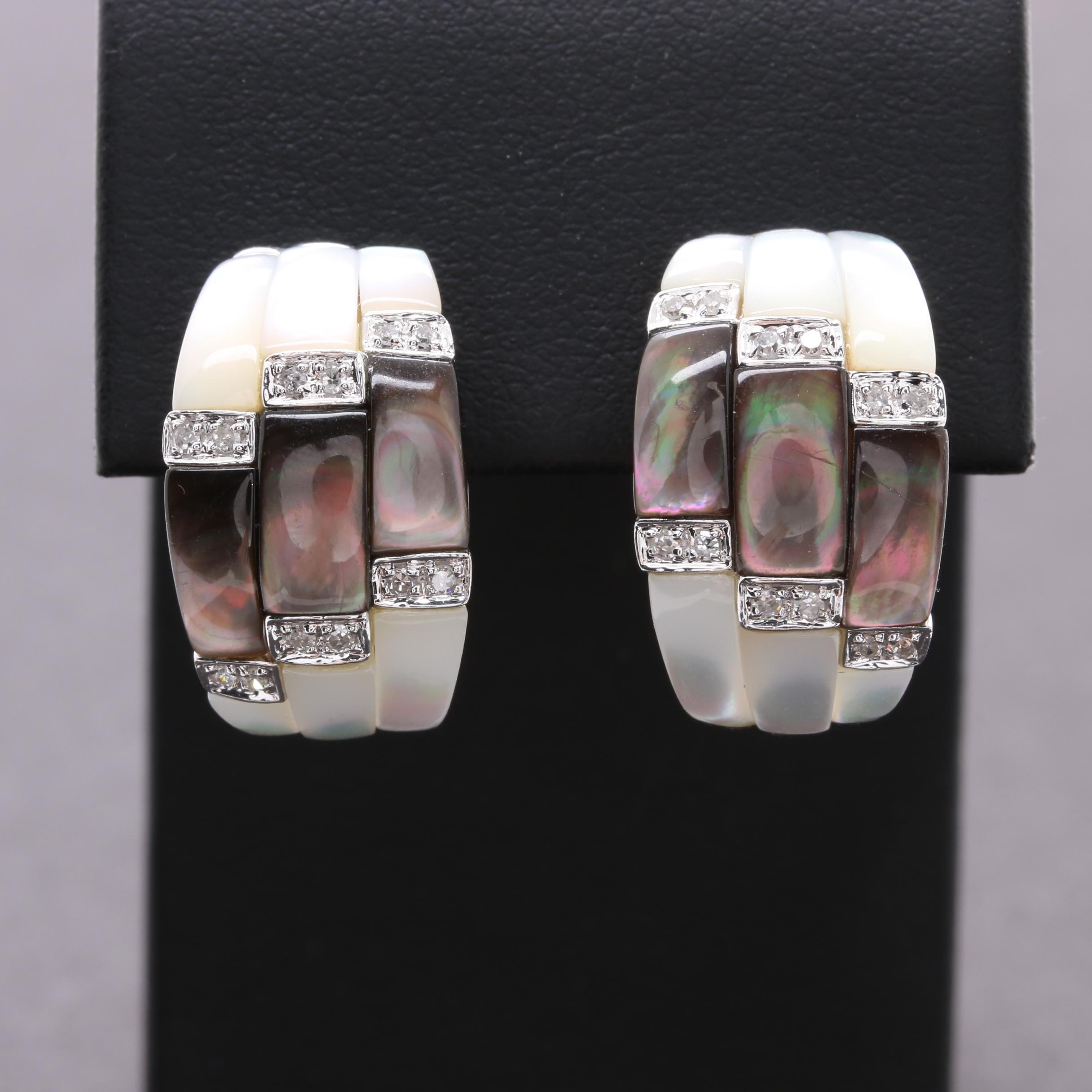 14K White Gold Mother of Pearl and Diamond Earrings