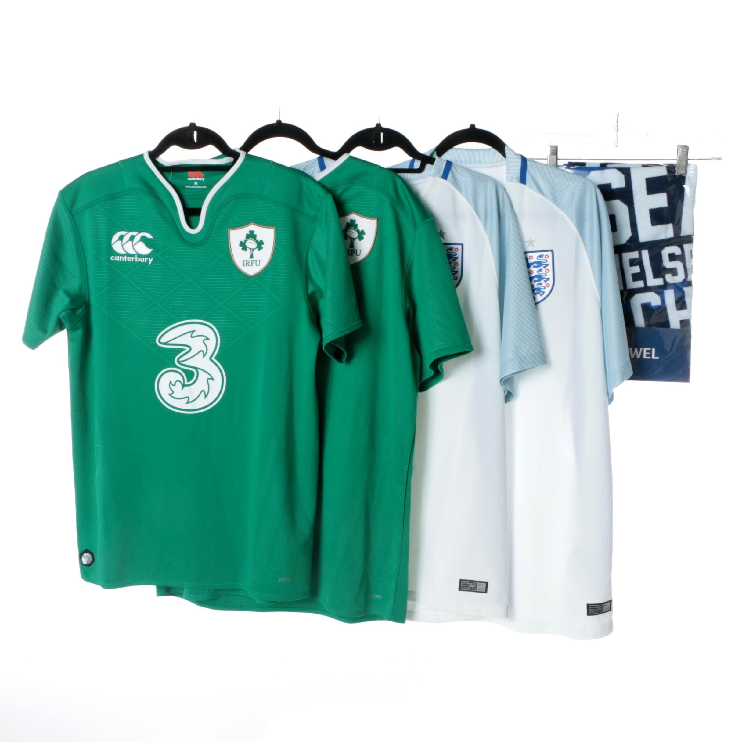 Men's Nike Chelsea and Canterbury IRFU Football Jerseys and Towel