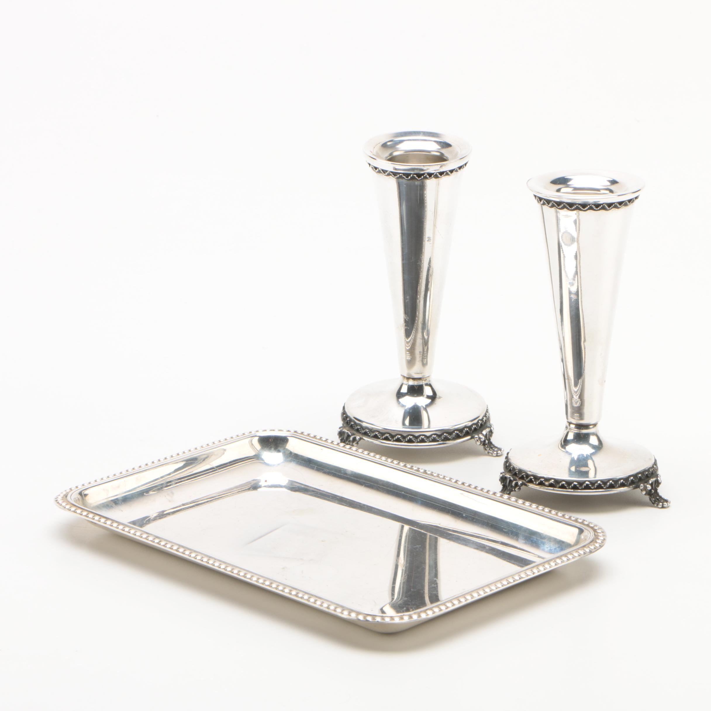 Hazorfim Sterling Silver Tray with Weighted Sterling Candleholders