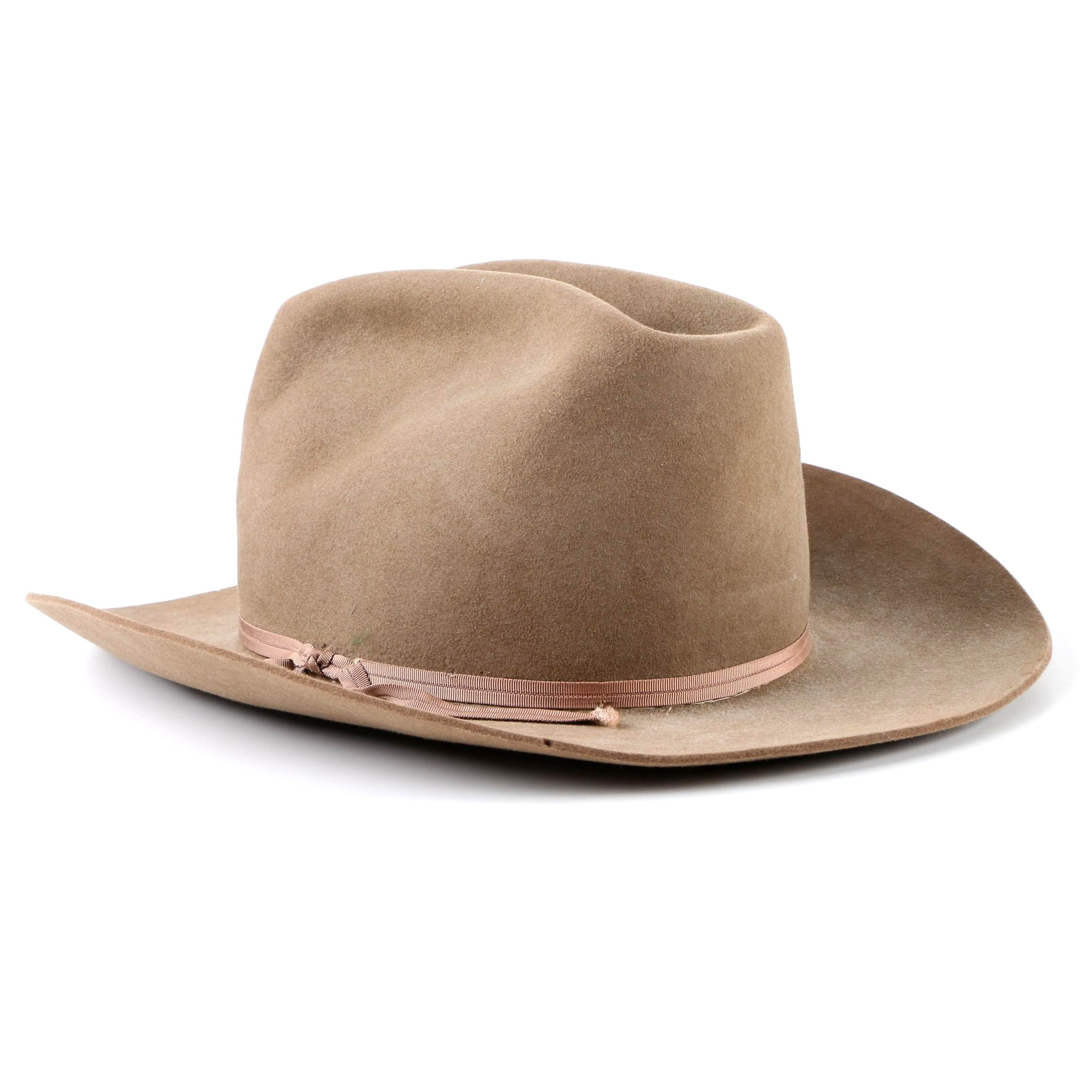 Men's Vintage Stetson Tan Felted Beaver Fur Western Hat
