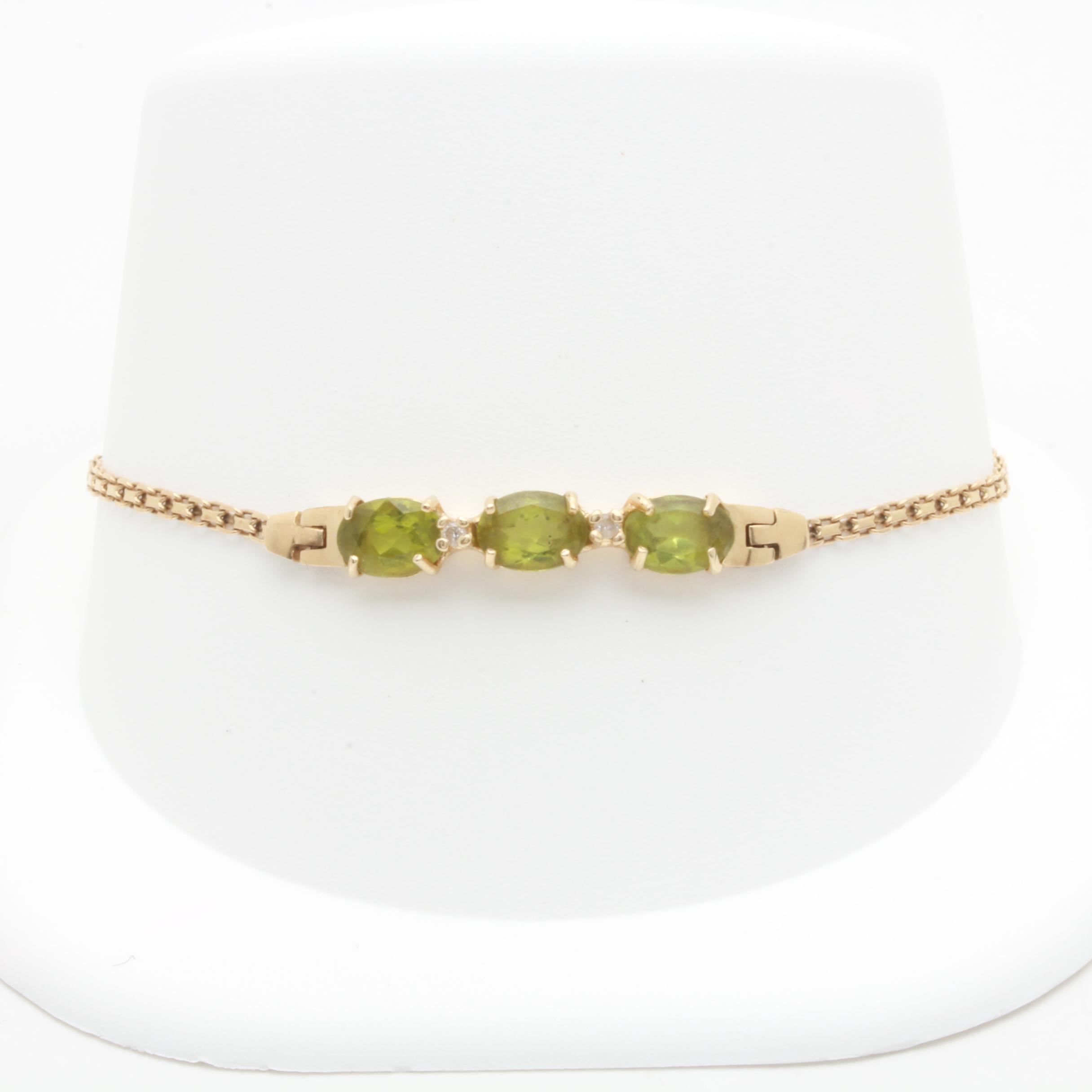 14K Yellow Gold Peridot and Diamond Bracelet