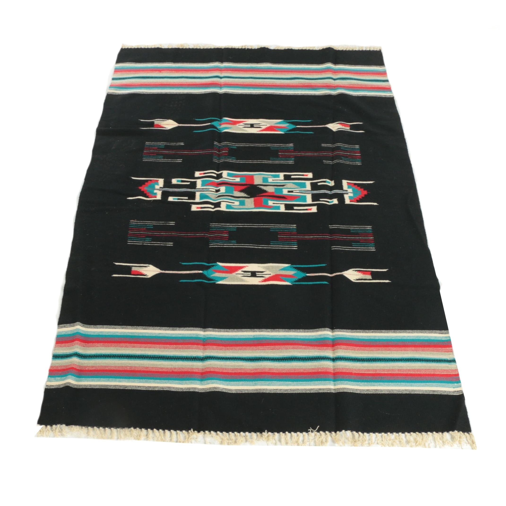 Handwoven Mexican Zapotec-Style Wool Area Rug