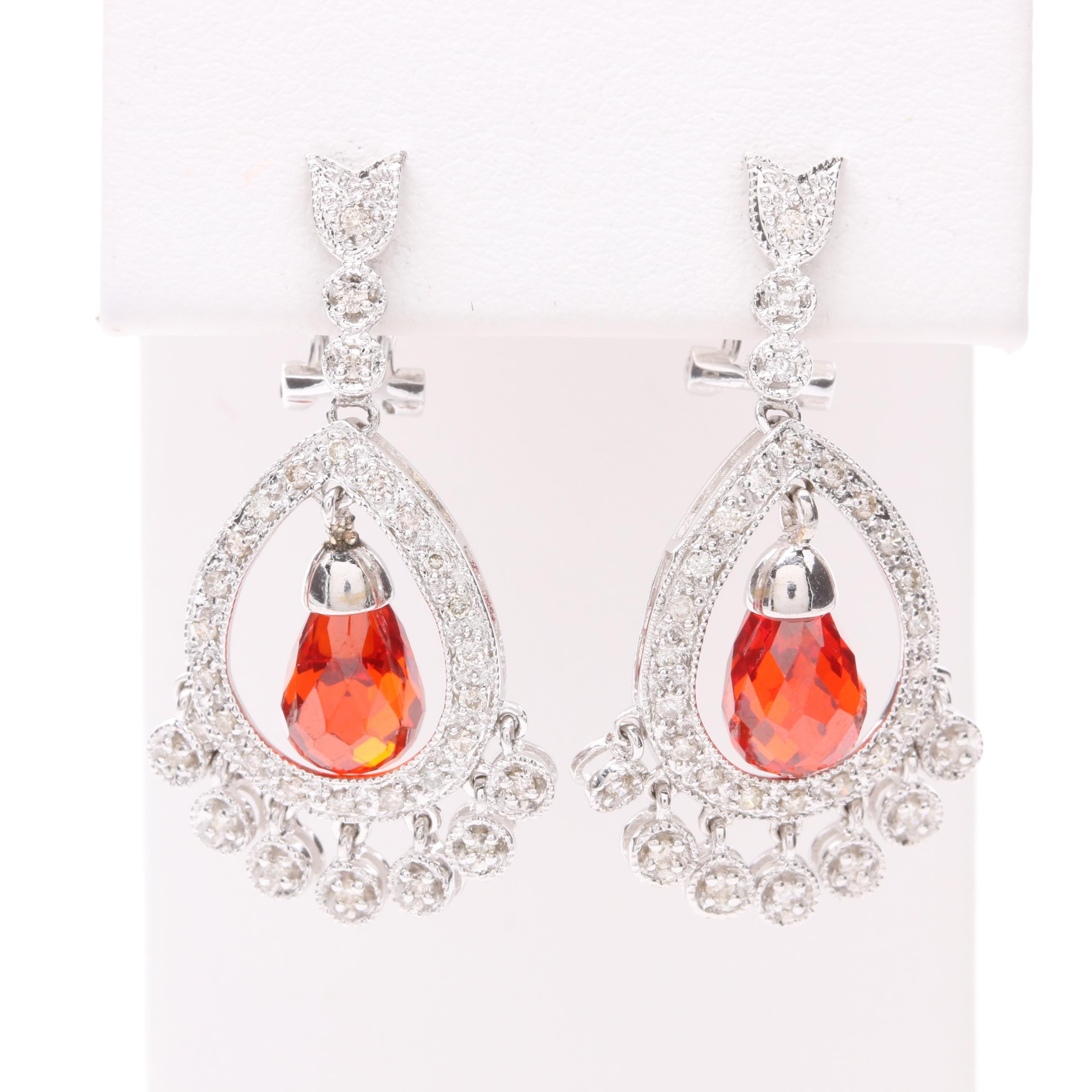 14K White Gold Glass and Diamond Earrings