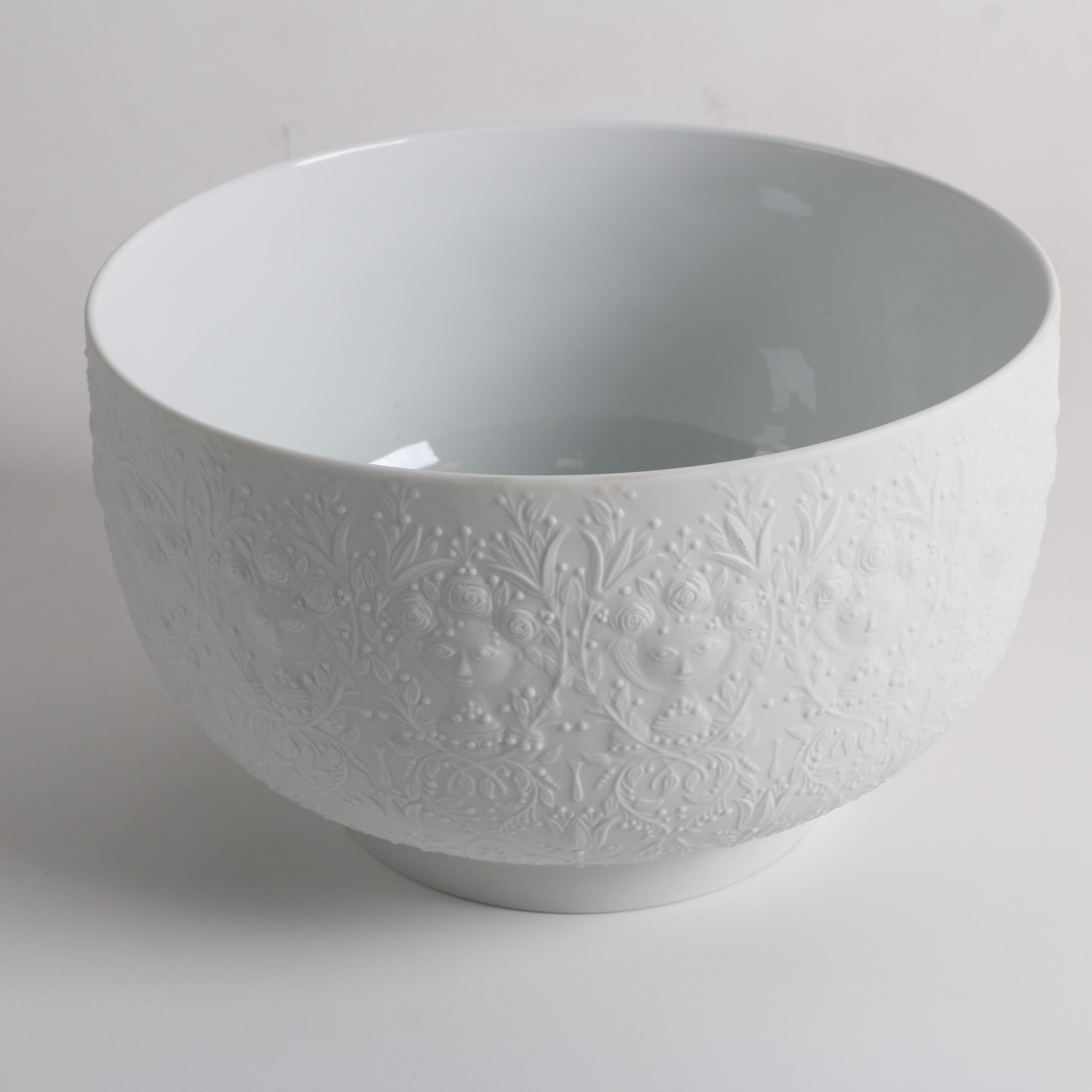 "Mid Century Rosenthal Studio Line Bjorn Wiinblad ""Fantasy"" White Porcelain Bowl"