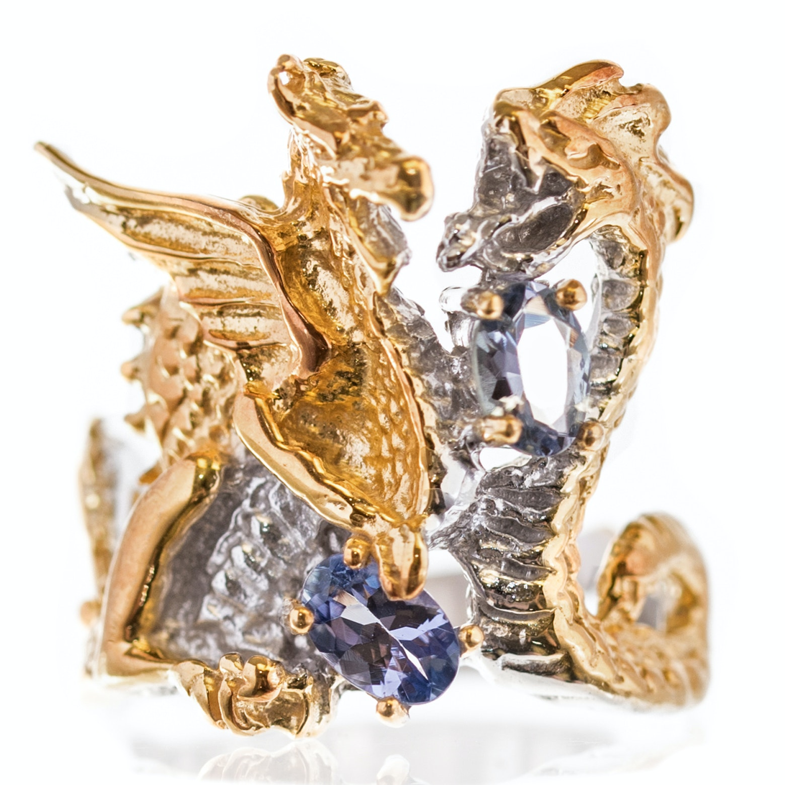 Sterling Silver Tanzanite Dragon and Serpent Ring with Gold Wash