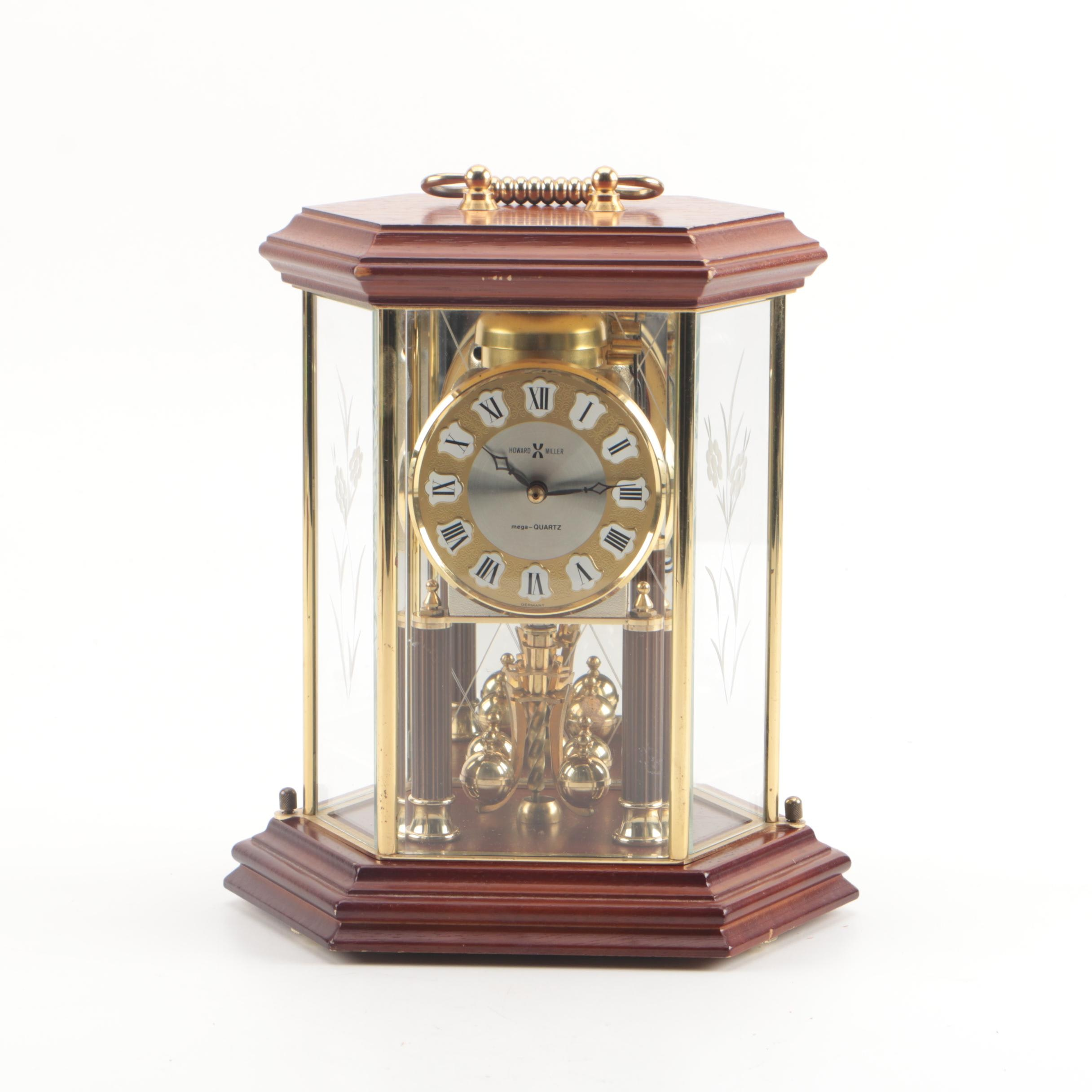 Howard Miller Wood and Glass Carriage Style Anniversary Clock