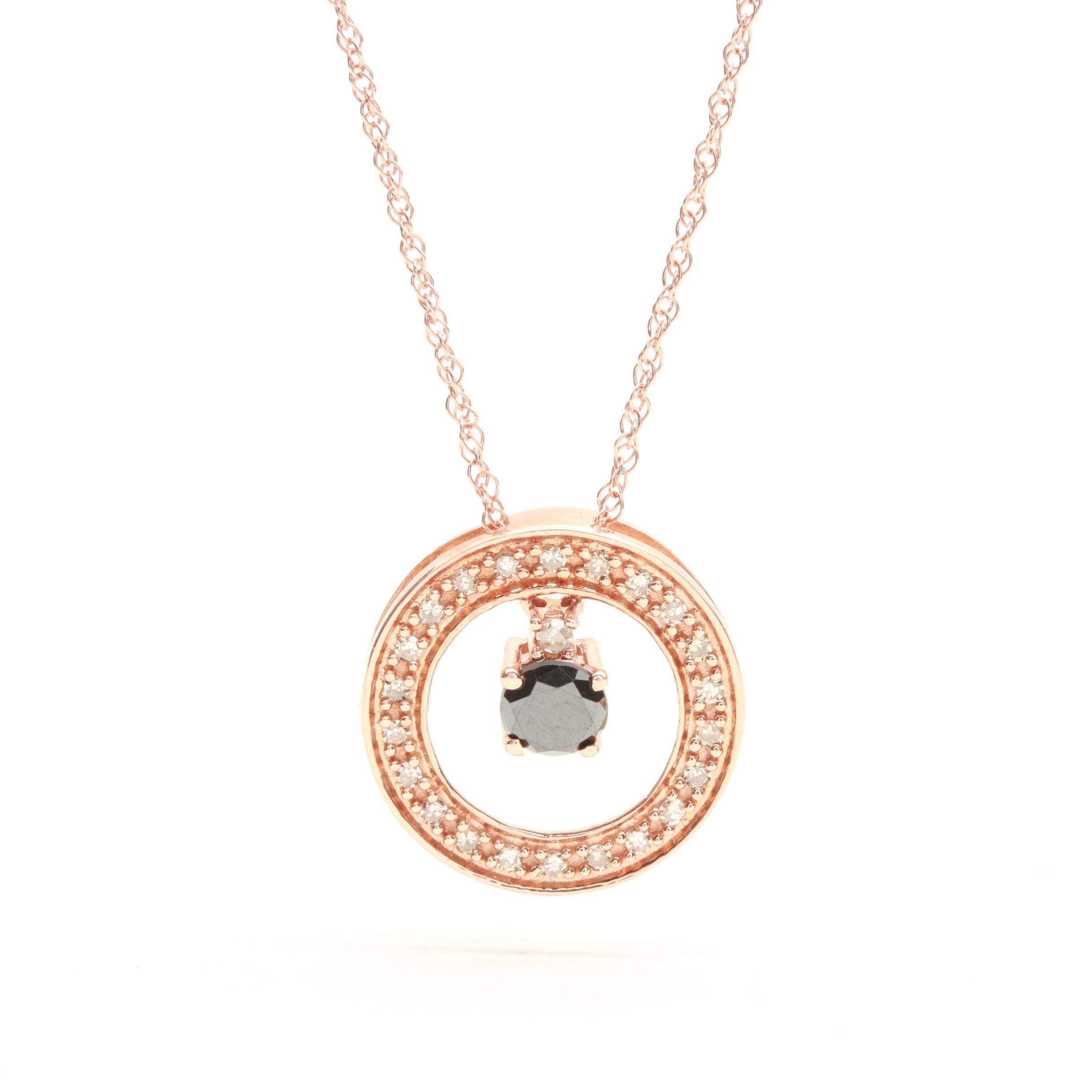 10K Rose Gold Black Moissanite and Diamond Necklace